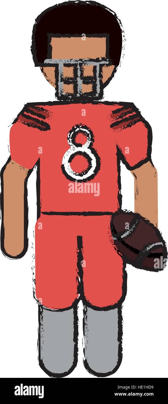 Us amerikanischer footballspieler mit helm und kugel zeichnen