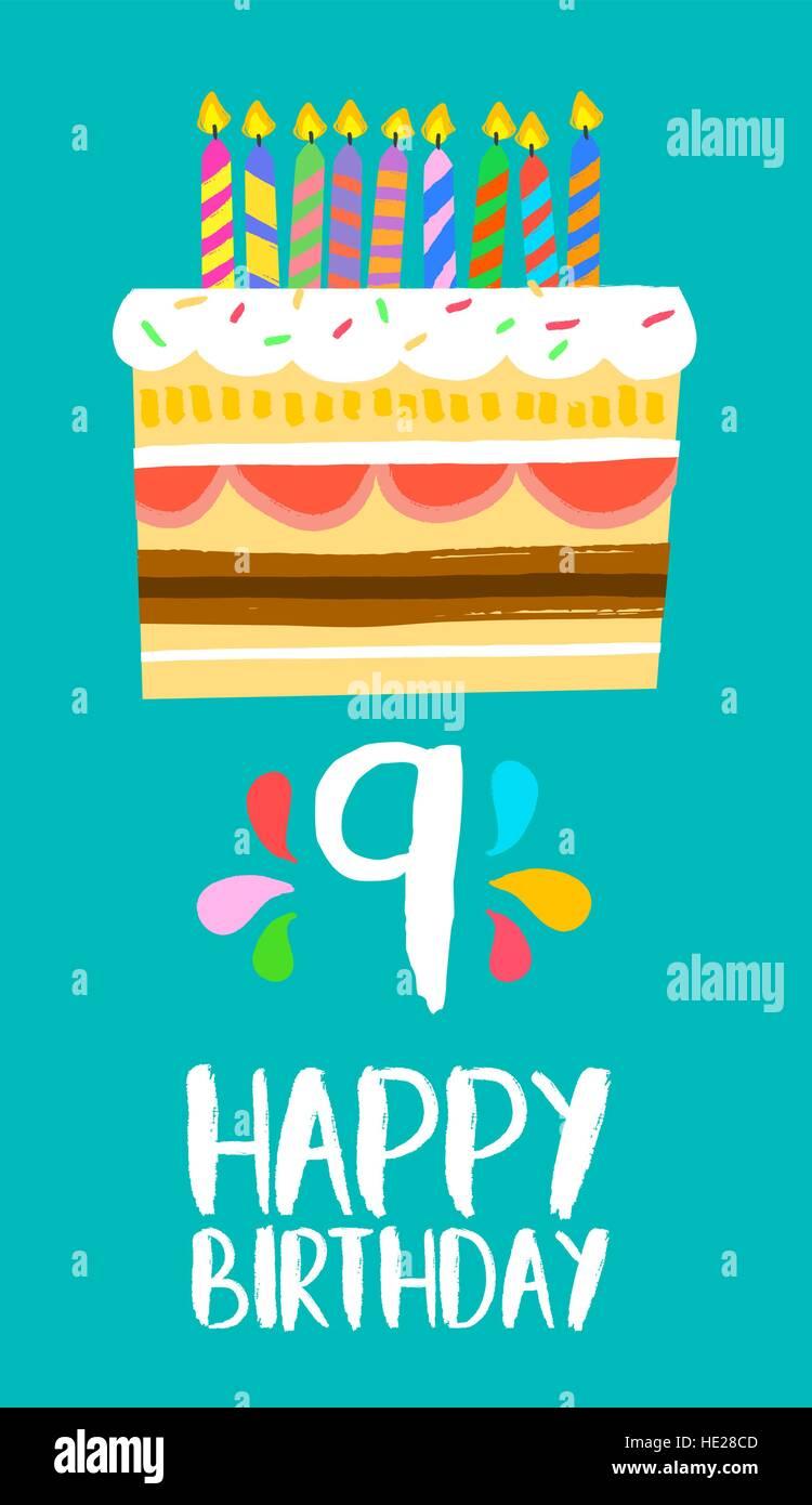 Alles Gute Zum Geburtstag Nummer 9 Grußkarte Für Neun Jahre