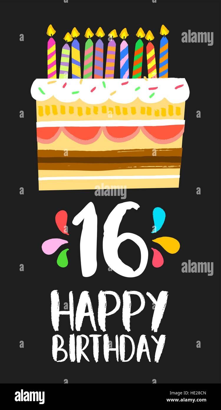 Alles Gute Zum Geburtstag Nummer 16 Grusskarte Fur Sechzehn Jahre In