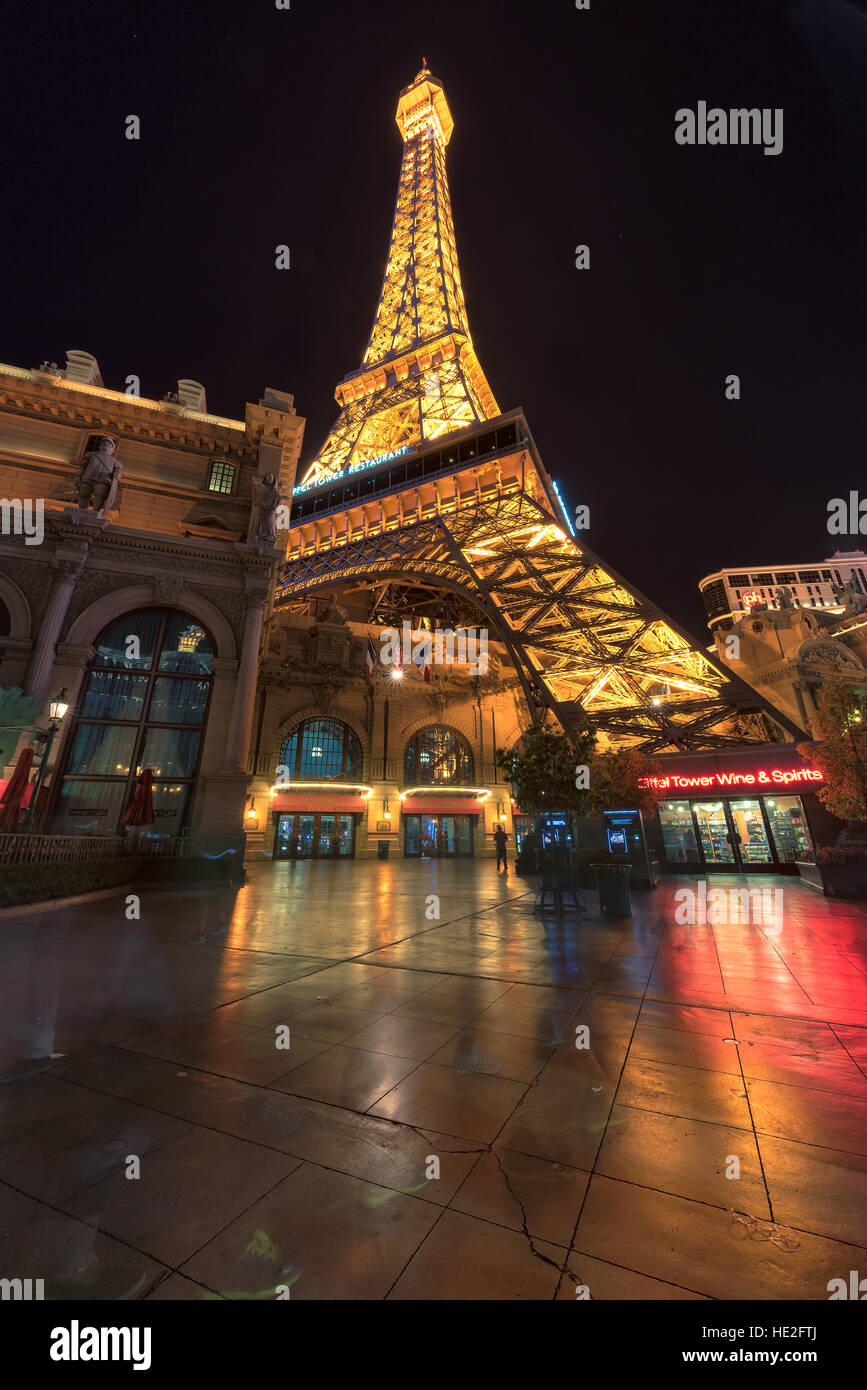 Paris Las Vegas Hotel und Casino und Eiffel tower Stockbild