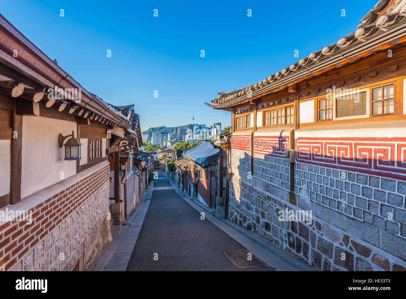 Bukchon Hanok Village in Seoul, Südkorea. Stockbild