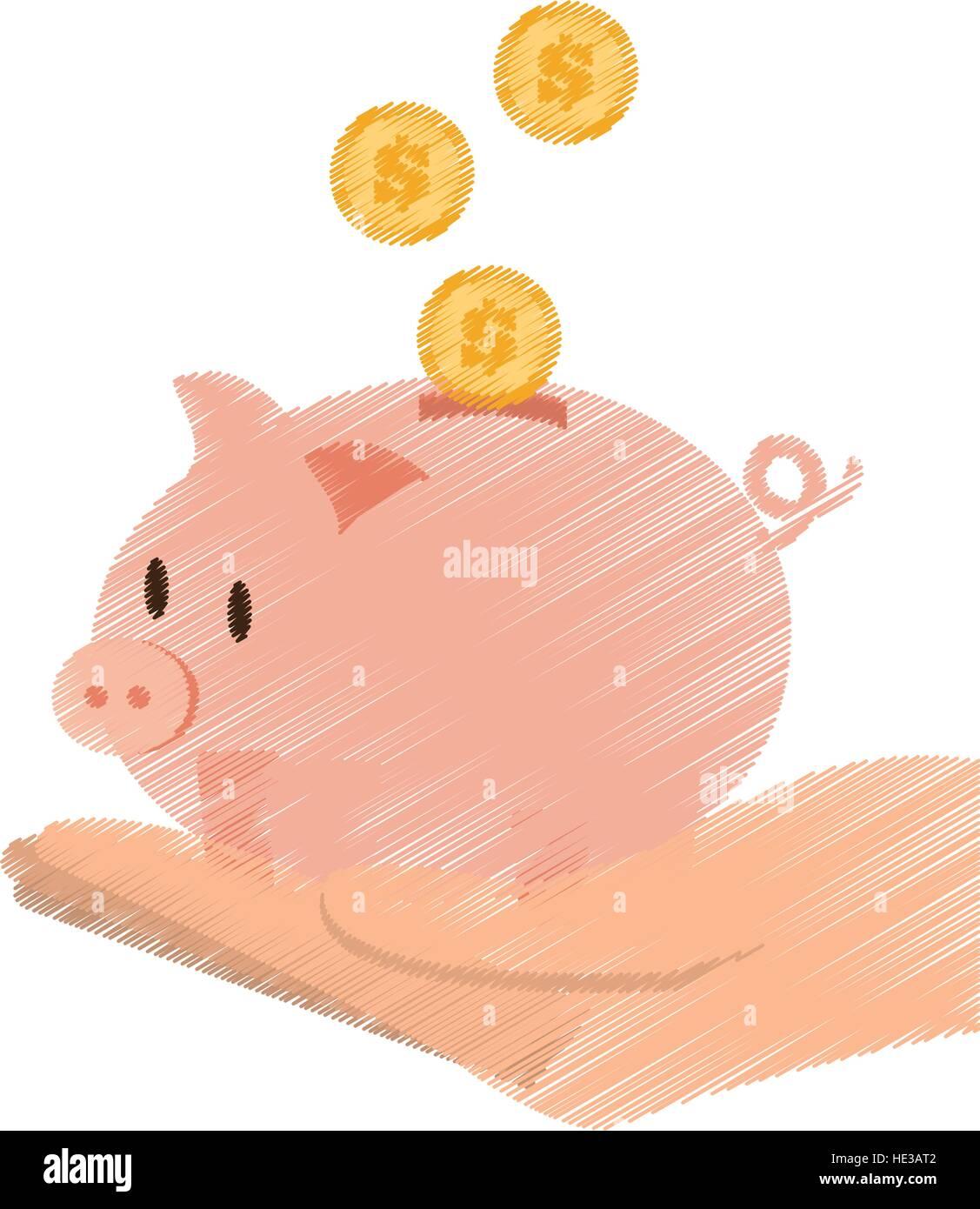 Hand Zeichnen Sparen Geld Piggy Münzen Bank Farbe Vektor Abbildung