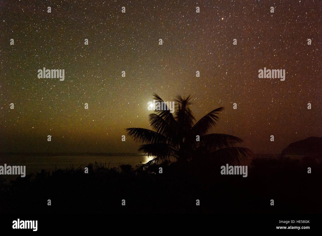 Mondhellen Nachthimmel auf Lord Howe Island, New South Wales, NSW, Australien. Stockbild
