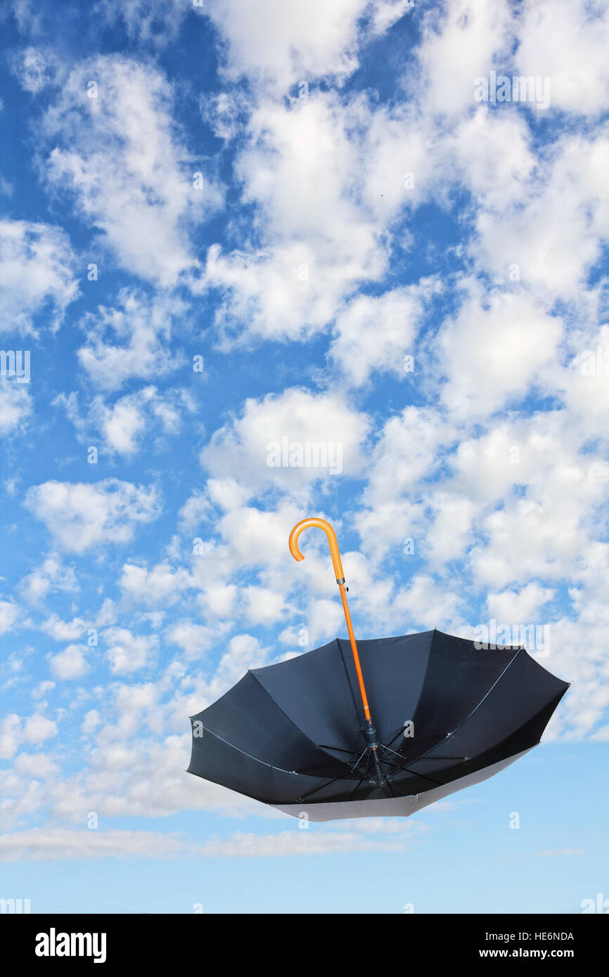 Umkippen Schwarz Schirm Fliegt In Den Himmel Gegen Der Reinen Weißen