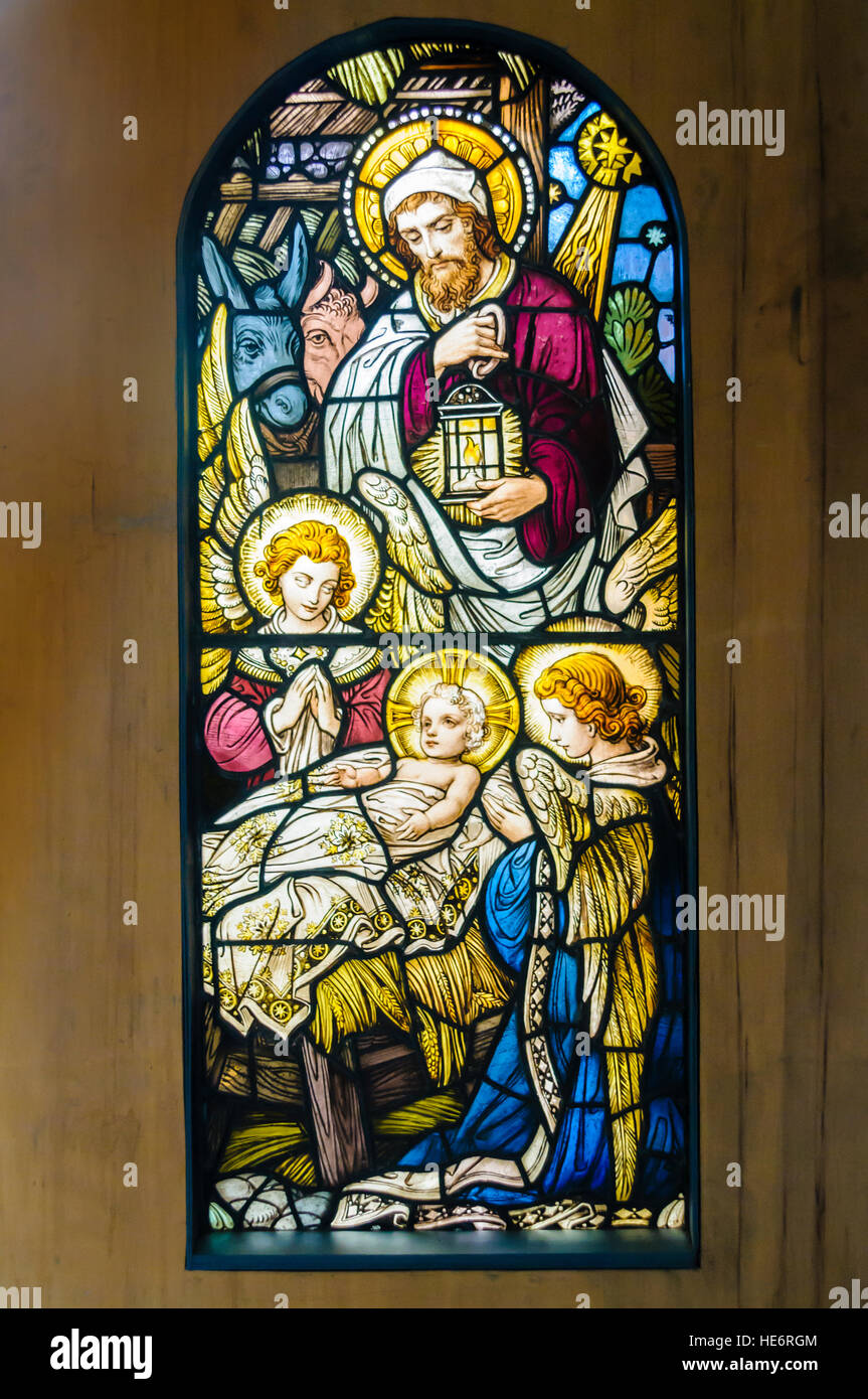 glasmalerei fenster darstellung der geburt jesu in bethlehem stockfoto bild 129227972 alamy. Black Bedroom Furniture Sets. Home Design Ideas