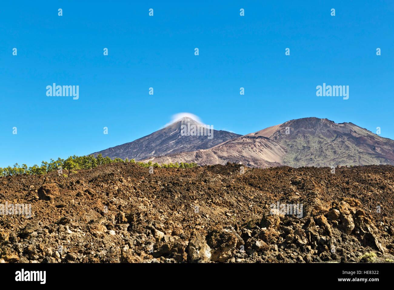 Eine Ansicht des Vulkans Mount Teide, im Teide Nationalpark auf Teneriffa, Kanarische, Spanien Stockbild