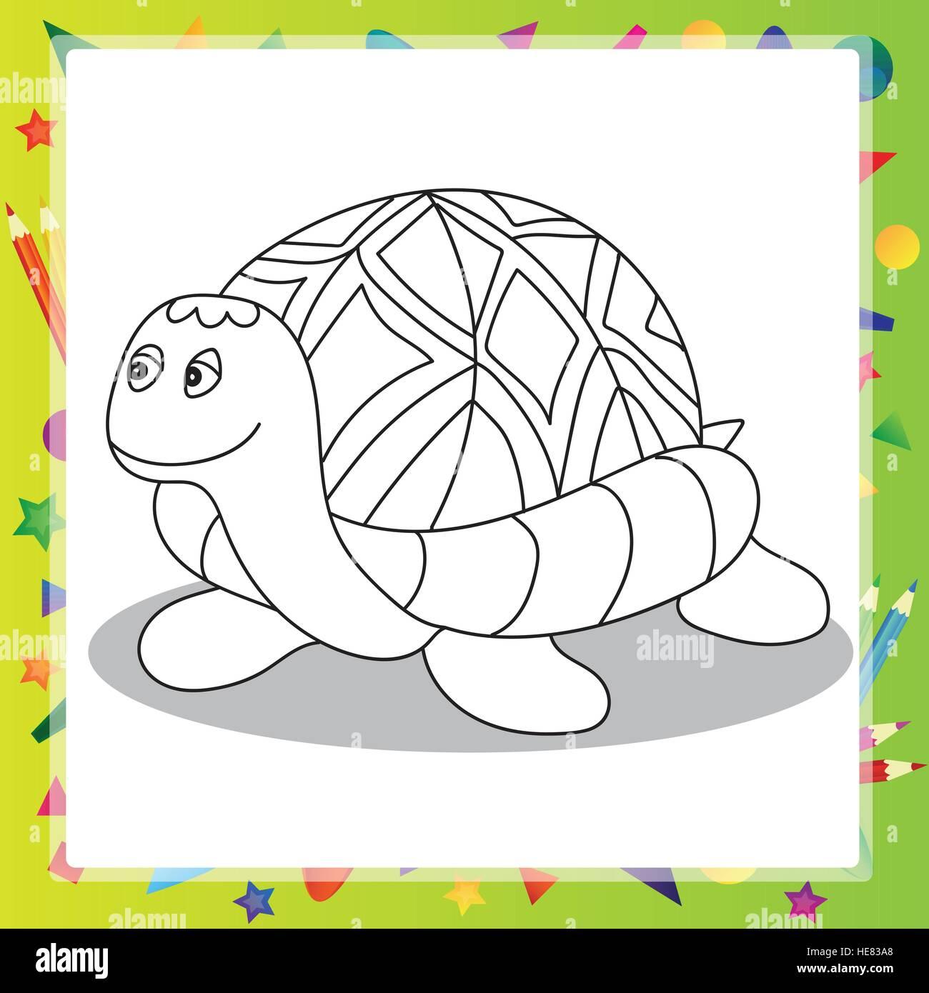 Vektor-Illustration Karikatur Schildkröte - Malbuch Vektor Abbildung ...