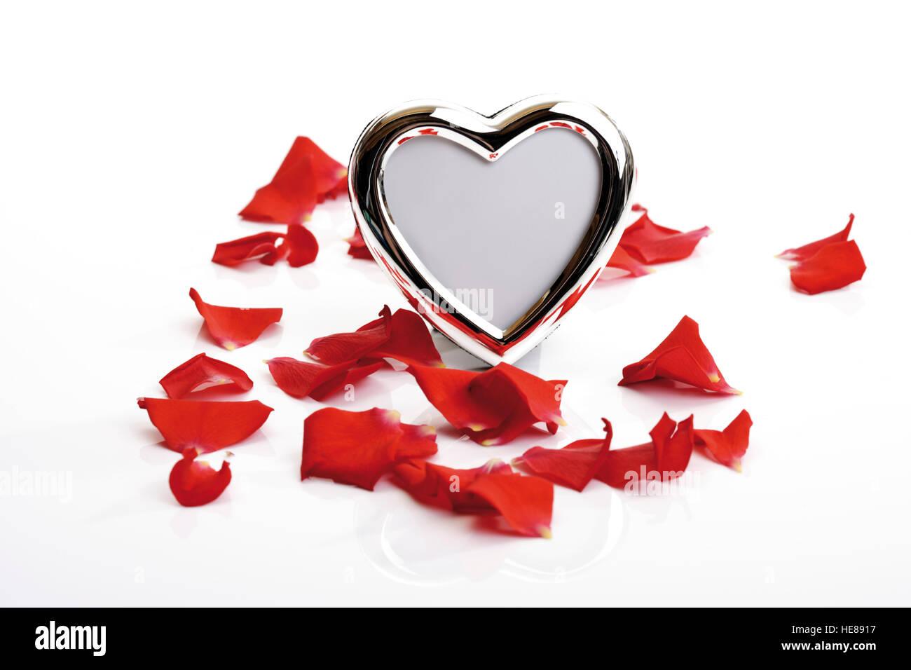 Herzförmigen Bilderrahmen und rote Rosenblüten Stockfoto, Bild ...
