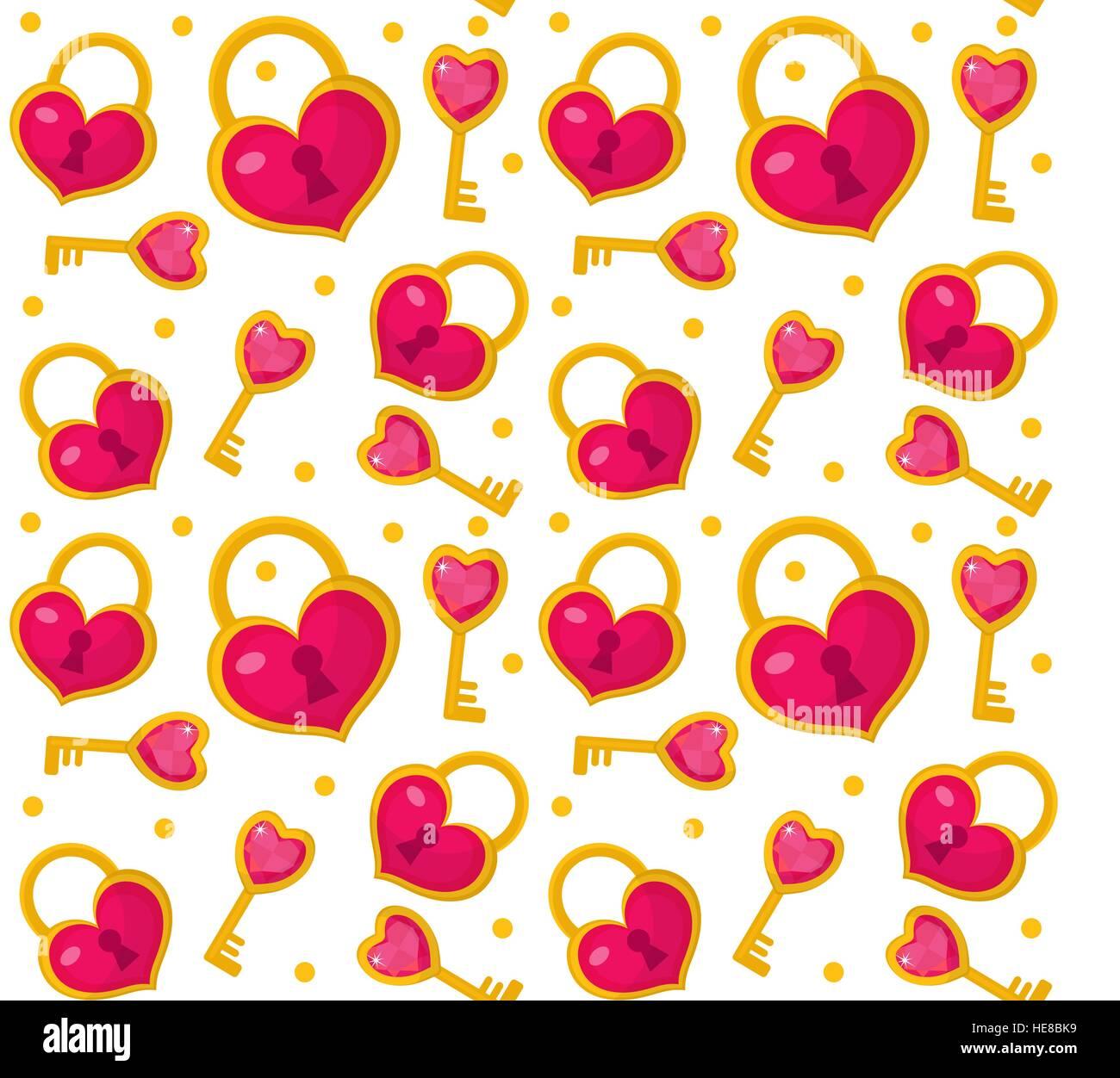 Romantische Schriftzug Wallpaper Mit Liebe Worte Und Herzen Vektor ...