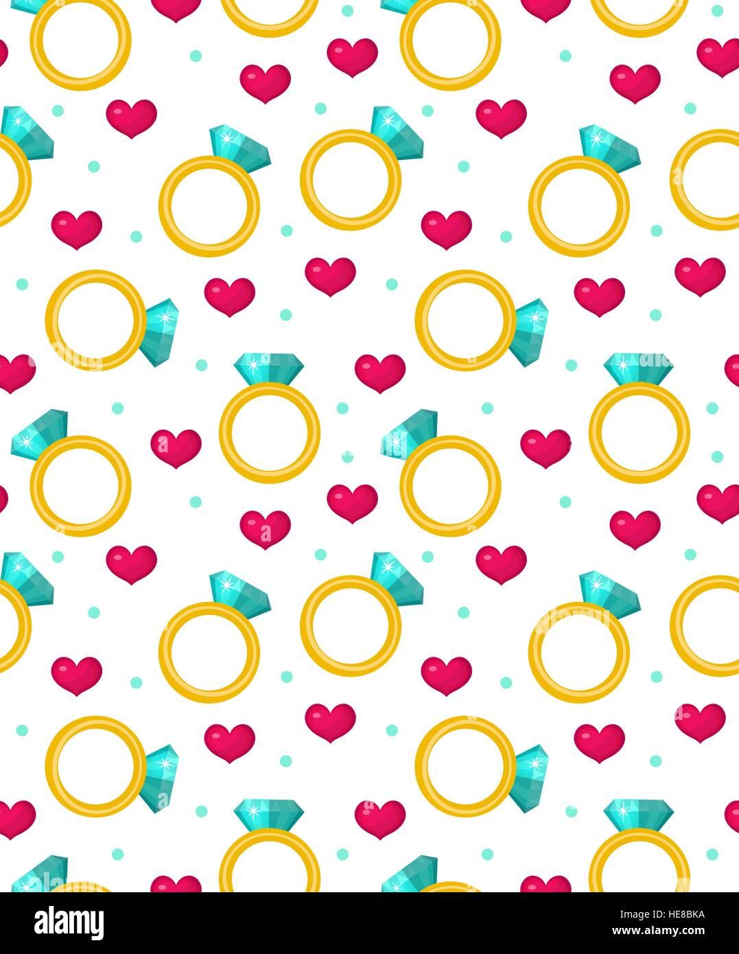 niedliche musterdesign valentinstag mit juwel ring rote herzen liebe romantik endlosen. Black Bedroom Furniture Sets. Home Design Ideas
