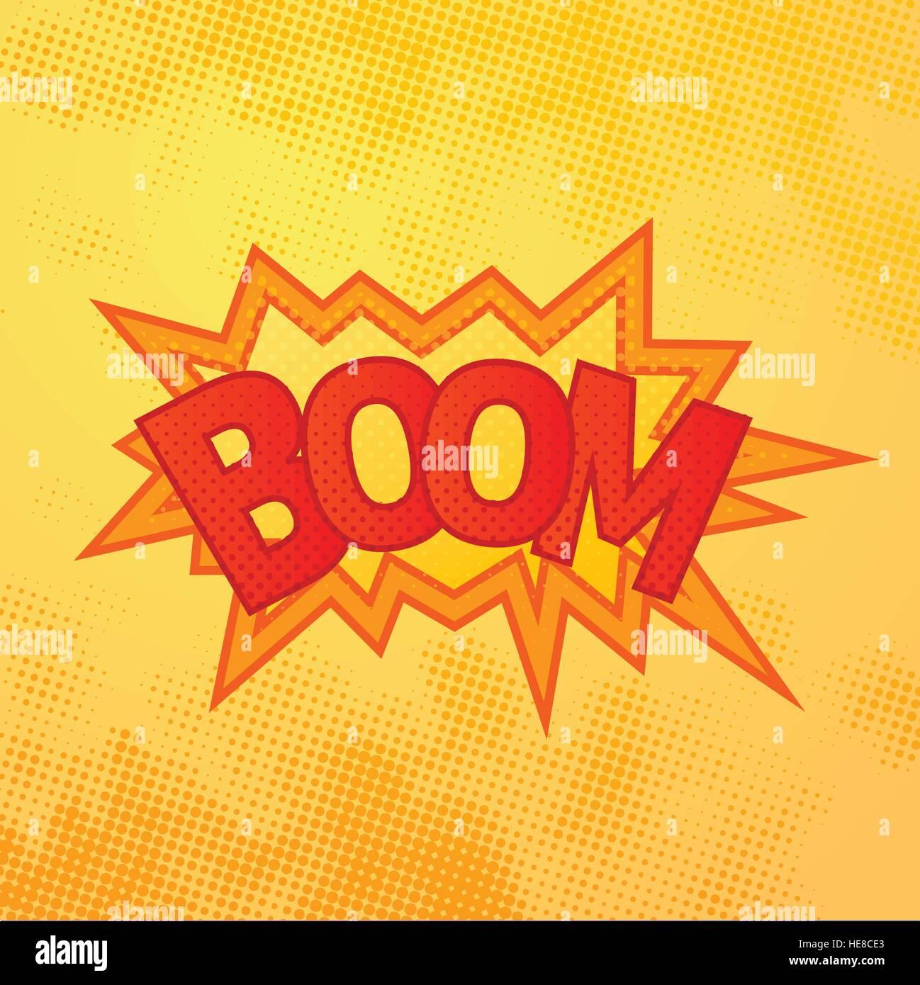 Boom-Comics sound-Effekt mit Halbton Muster auf gelbem Hintergrund ...