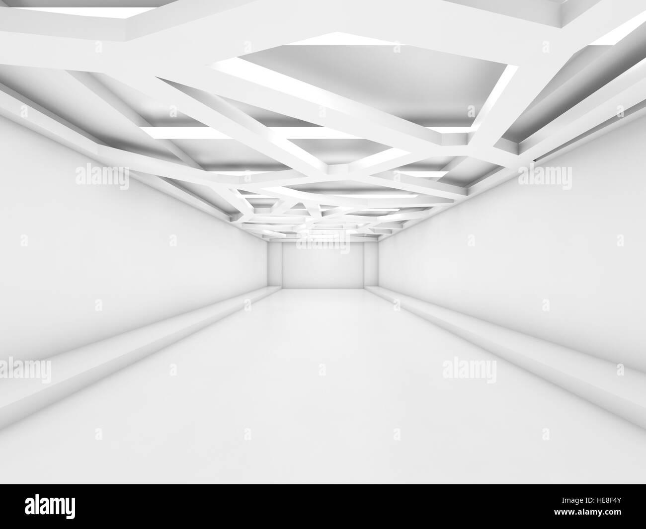 Abstrakte leere weiße innere Perspektive mit dekorative ...