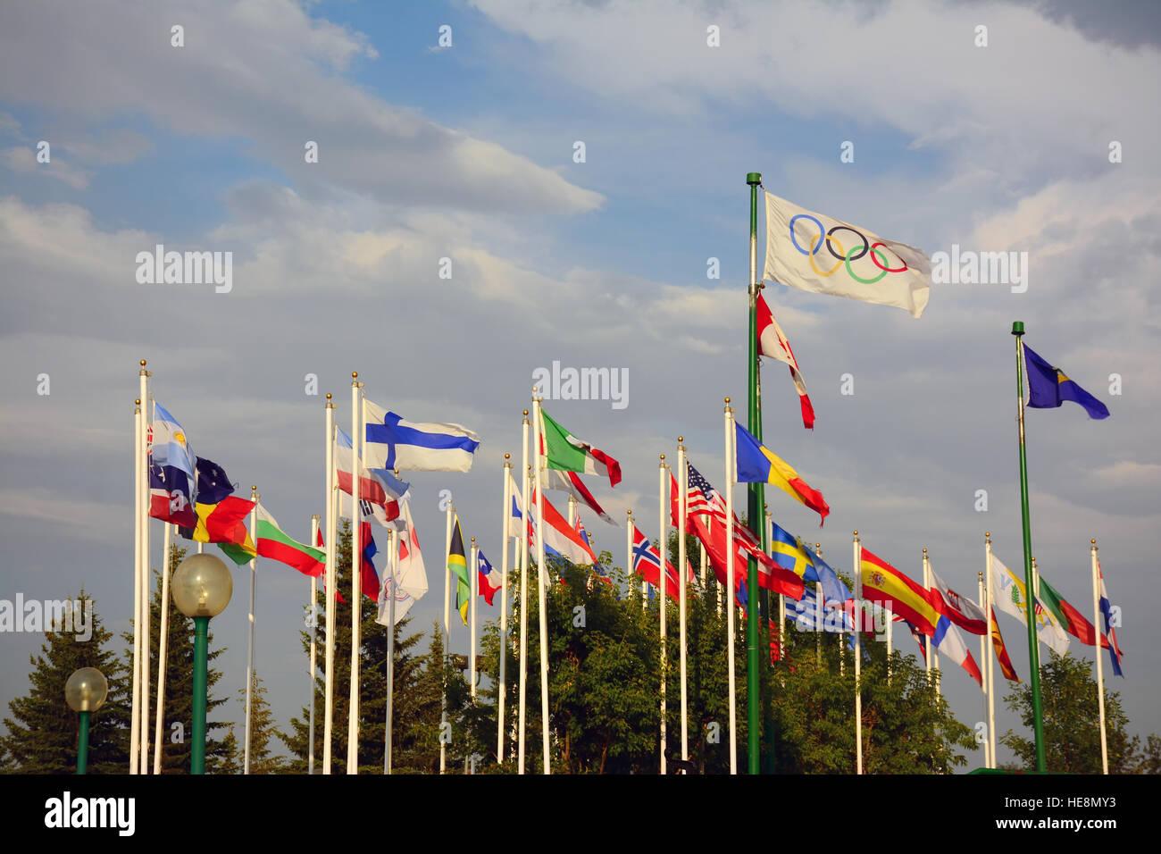 Internationale Fahnen in Calgary, Kanada Stockbild