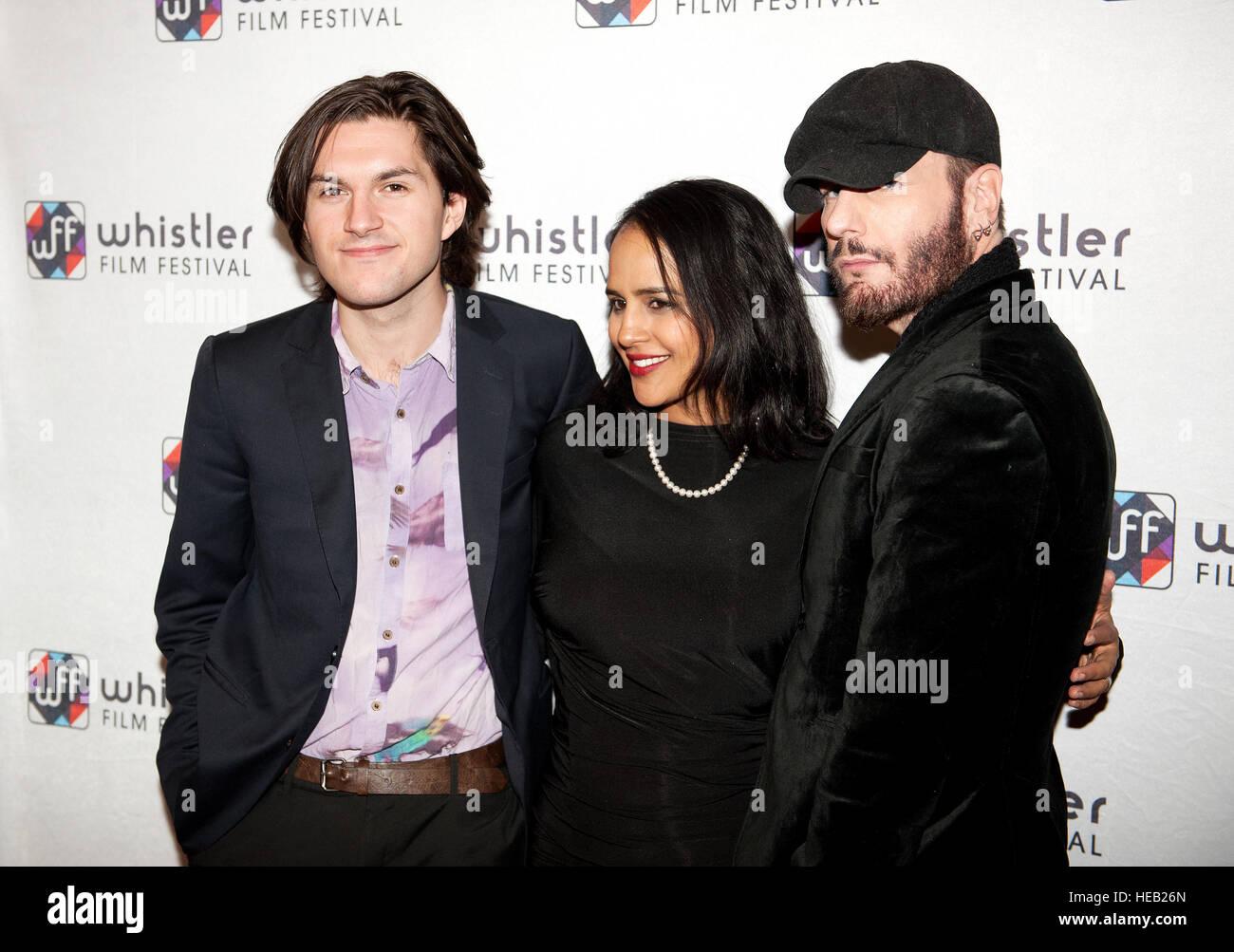 Schauspieler Charlie Kerr, Agam Darshi und Michael Ellund Fuß dem roten Teppich am Eröffnungsabend des Stockbild