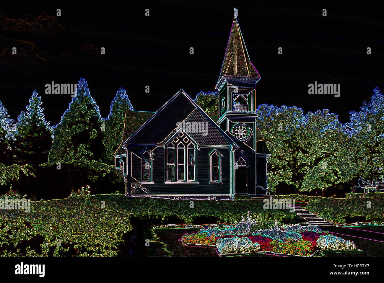 Kleine ländliche Holzkirche - digital manipulierte Bild mit leuchtenden Kanten, abstrakte Architektur und Landschaft Stockbild