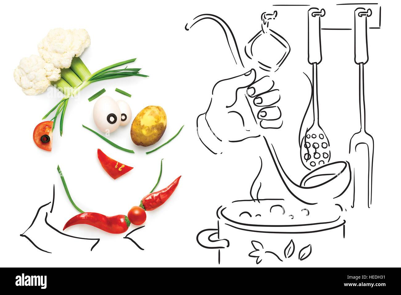 Kreative Küche Konzept eine lustige Karikatur Koch, gemacht ...