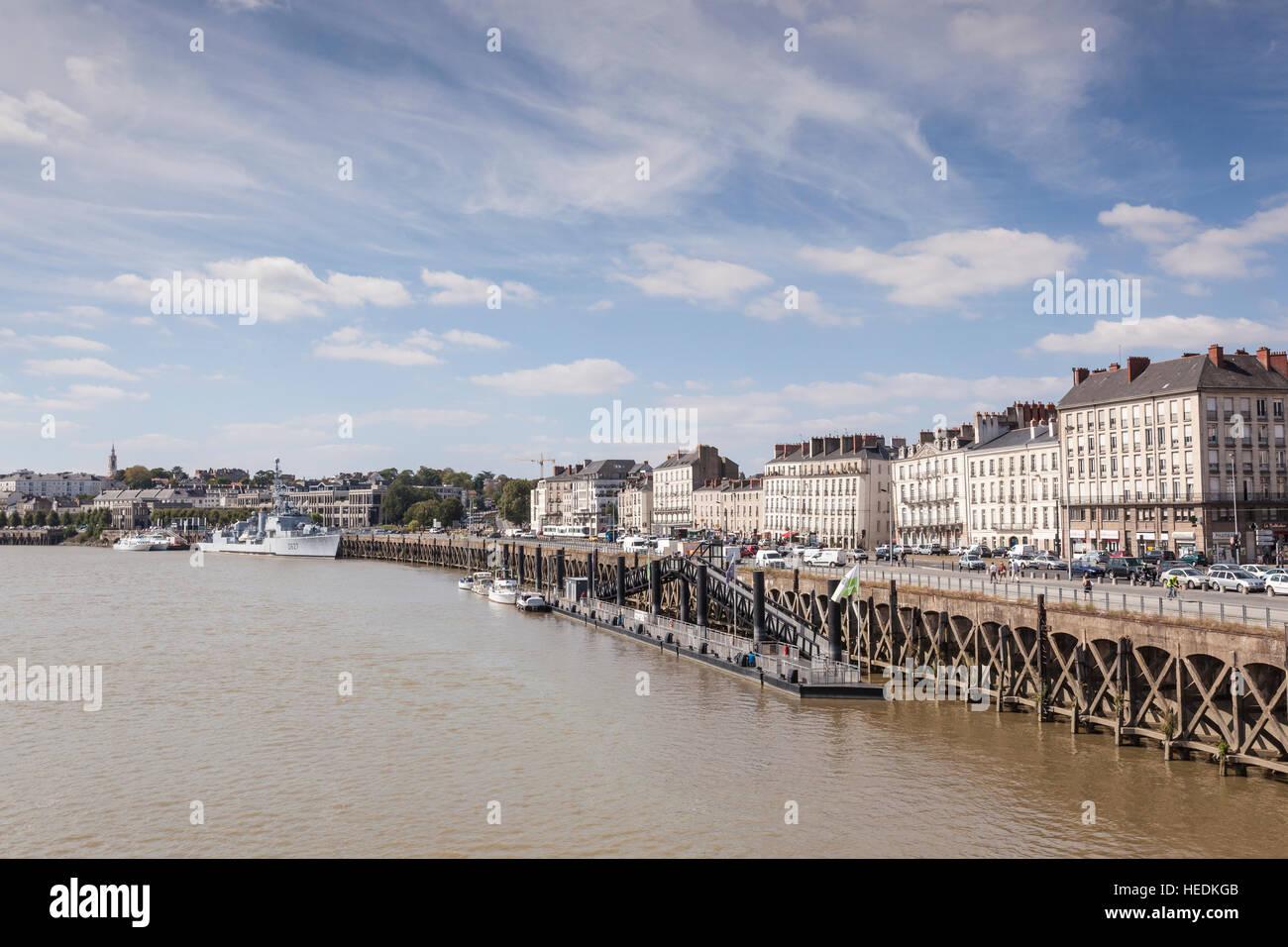 Kai in Nantes, Frankreich. Stockbild