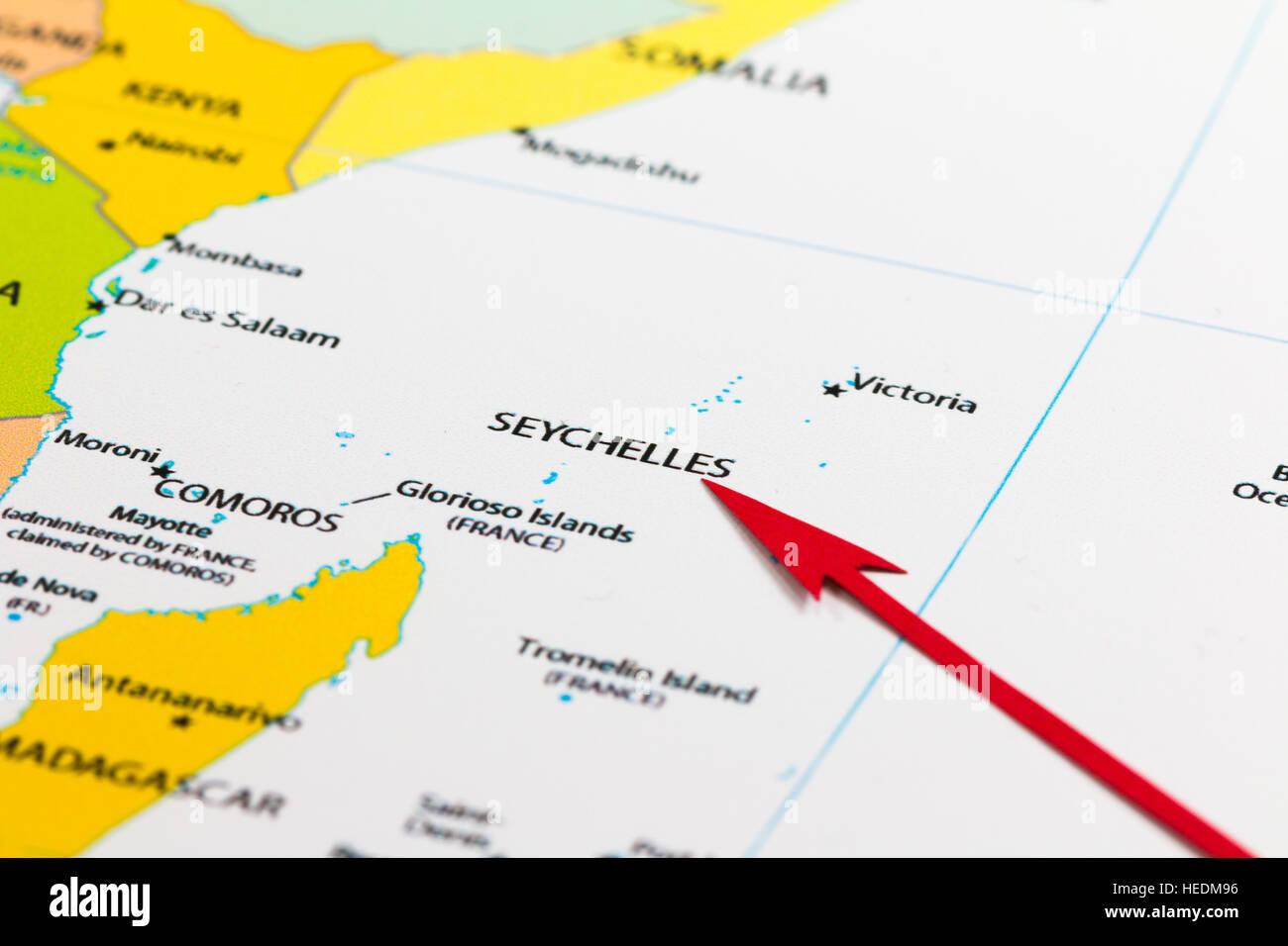 Seychellen Karte Afrika.Roter Pfeil Seychellen Inseln Auf Der Karte Von Afrika Kontinent