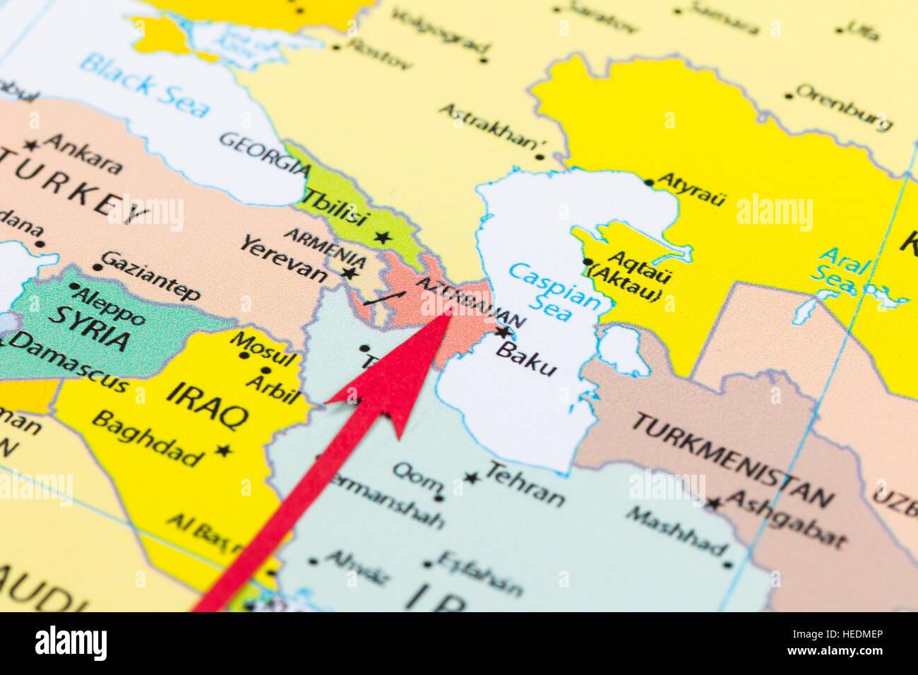 Roten Pfeil Auf Der Karte Von Asien Kontinent Aserbaidschan Stockfotografie Alamy