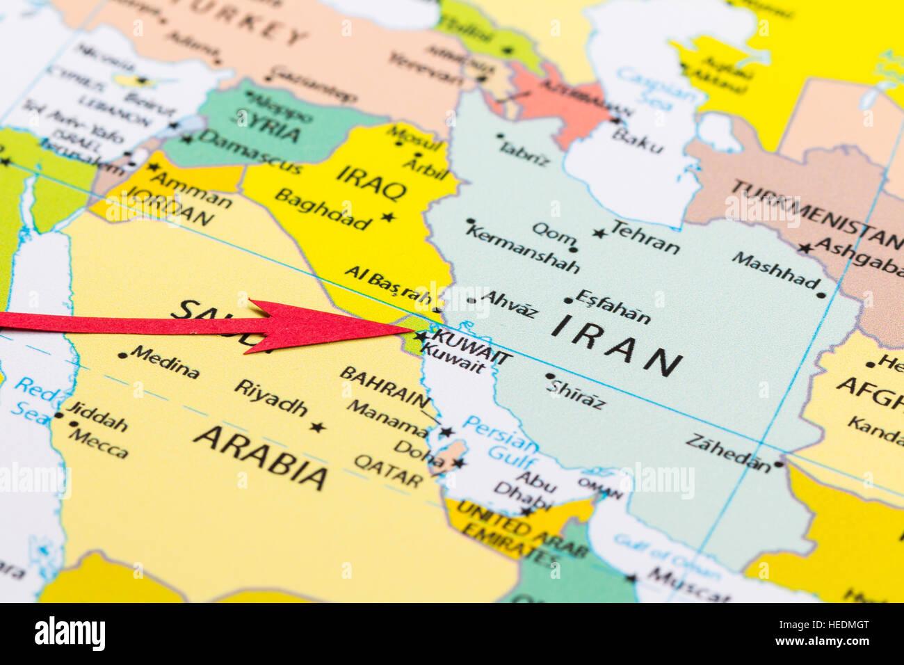 kuwait karte Roten Pfeil auf der Karte von Asien Kontinent Kuwait Stockfoto  kuwait karte
