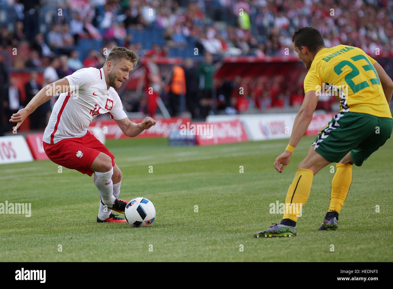Krakau, Polen - 6. Juni 2016: Inernational freundlich Fußball Spiel Polen - Litauen o/p Jakub Kuba Blaszczykowski Stockbild