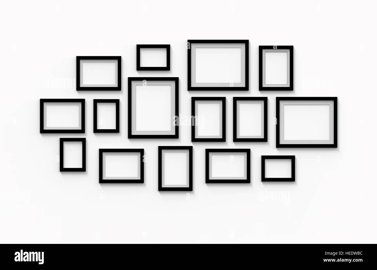 viele leere schwarze Bilderrahmen an der Wand hängen, 3D-Rendering ...