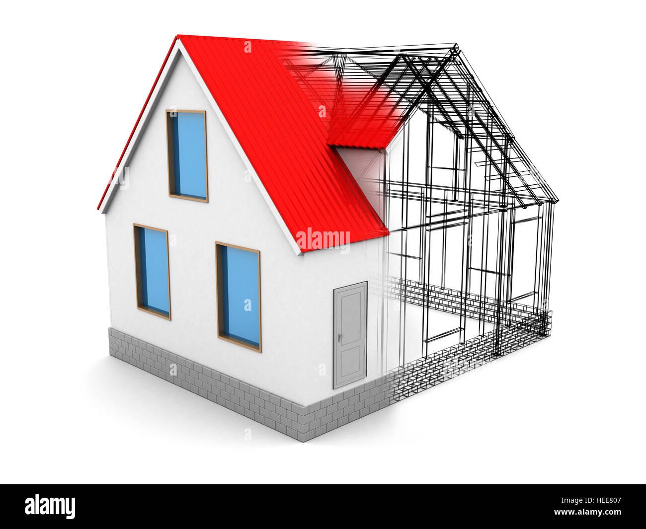 abstrakt 3d Illustration des Haus-Design-Prozess, auf weißem ...
