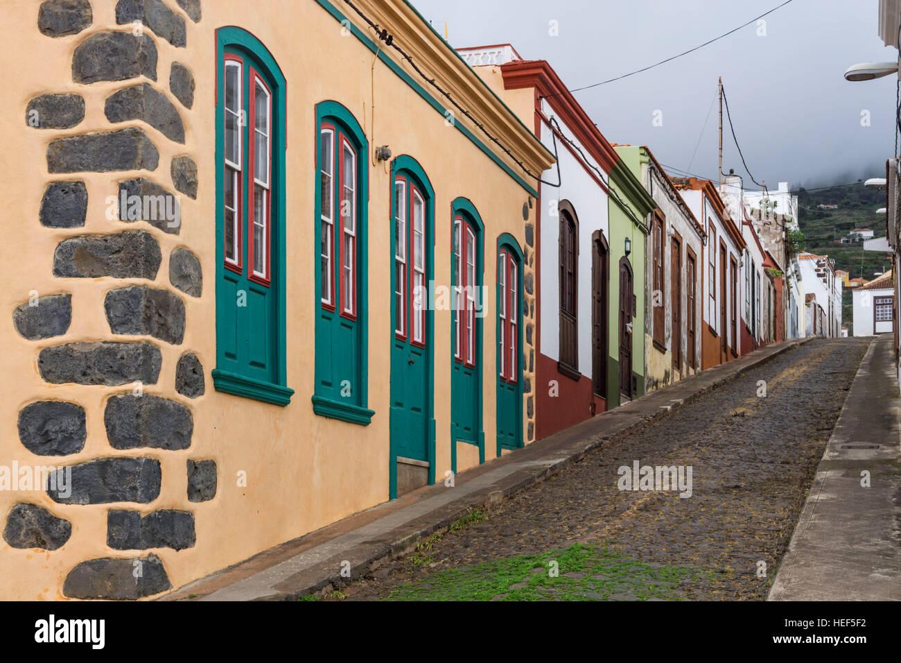 Reihenhäuser in Puntagorda, La Palma, Kanarische Inseln, Spanien Stockfoto