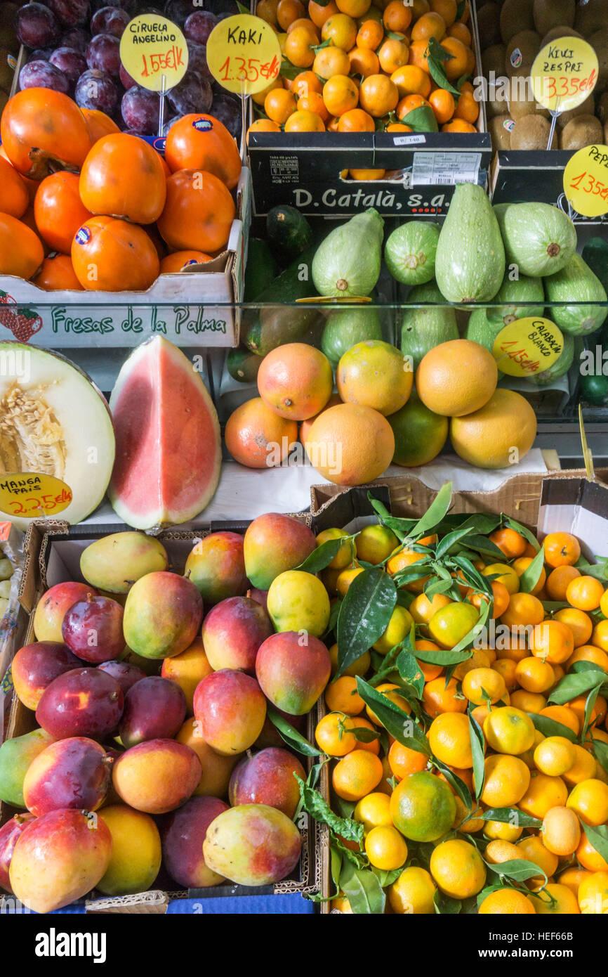 Bedeckt Markthalle, Obst, La Palma, Kanarische Inseln, Spanien Stockfoto