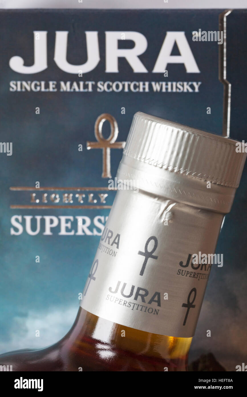 Jura Superstition - Jura Single Malt Scotch Whisky leicht wiederholten Stockbild