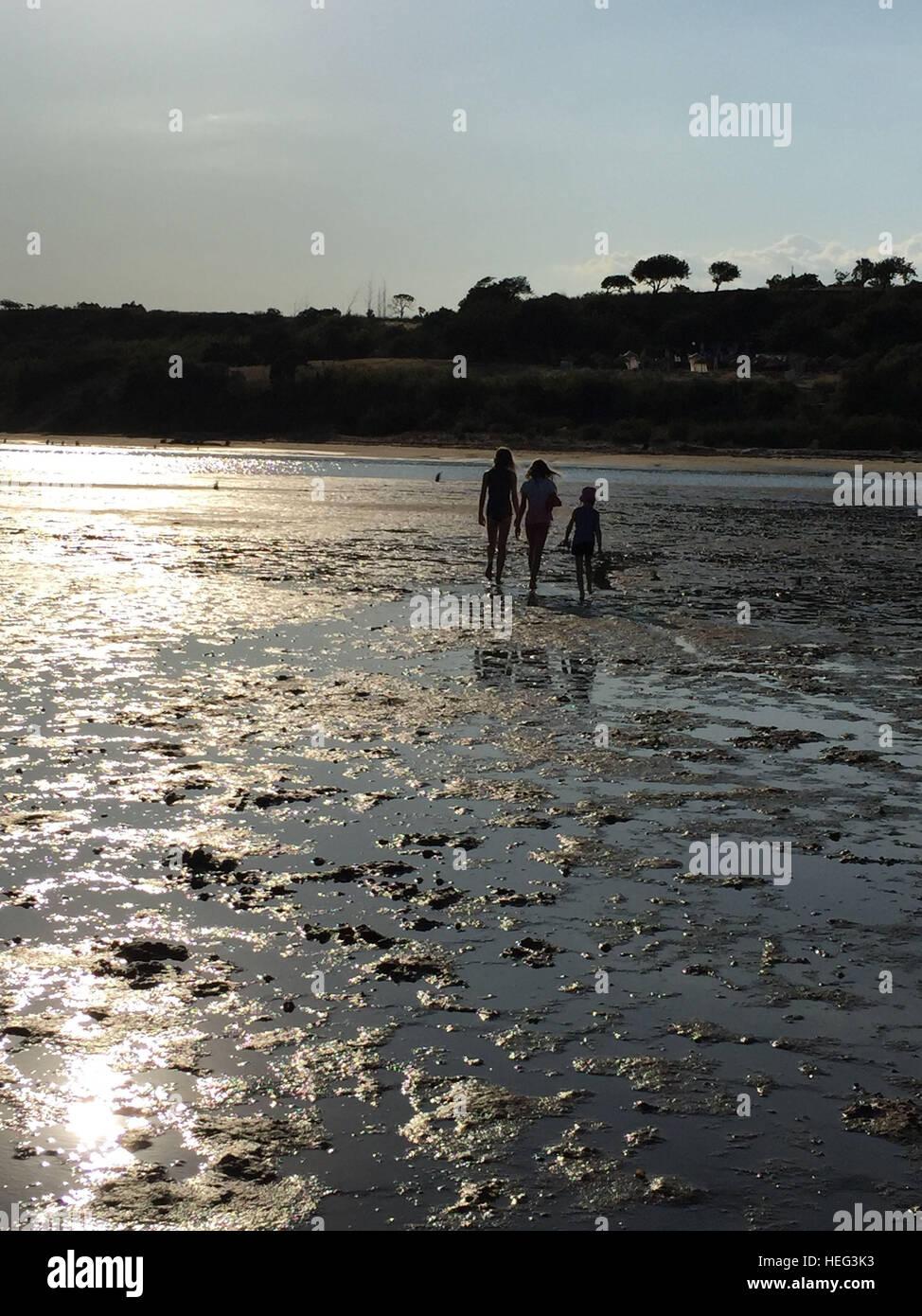 Drei Jugendliche Mädchen Beim Spaziergang Bei Ebbe Im Raummotive Stockbild