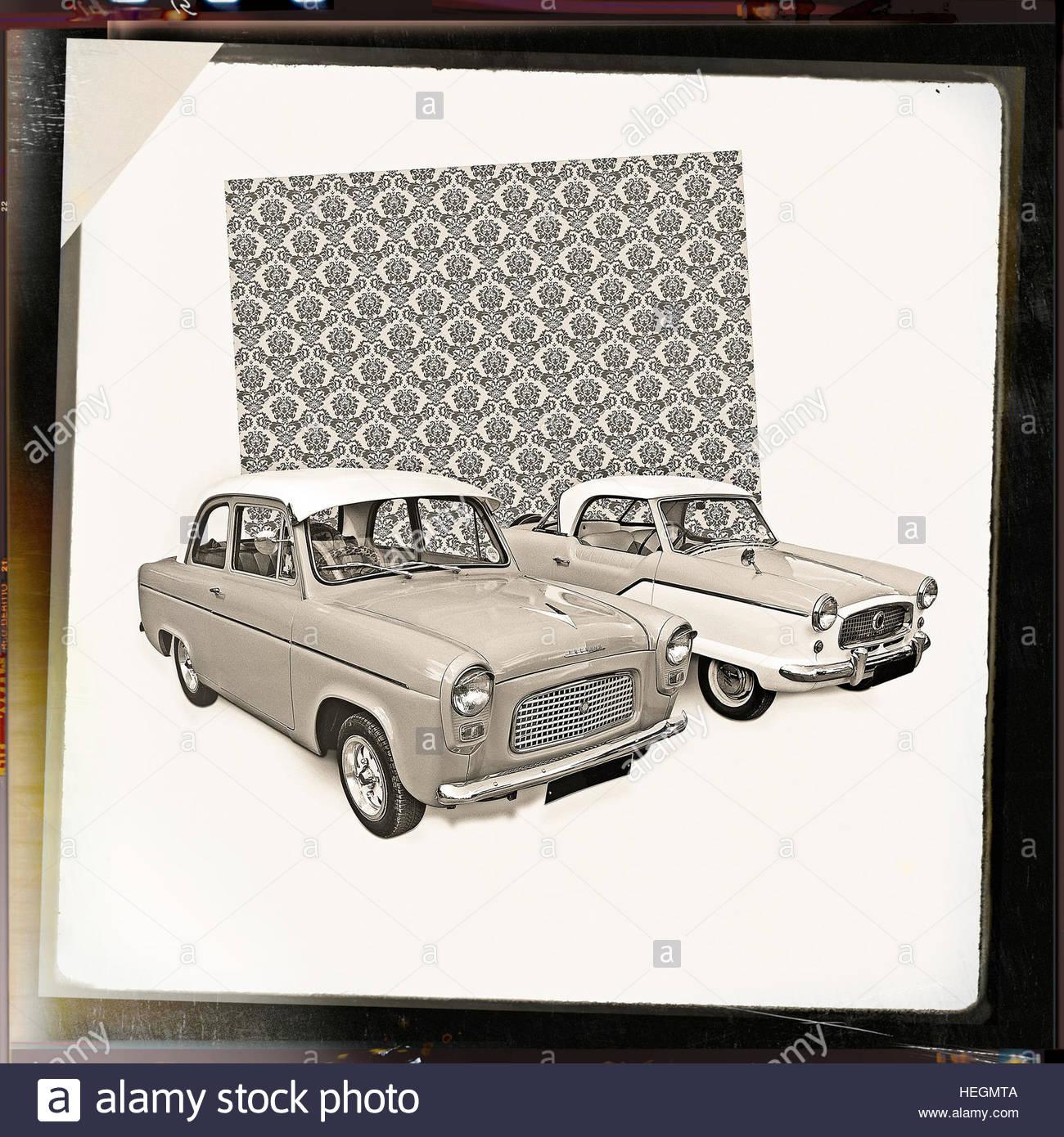 Retro Vintage 50er Jahre Stil Mitte Jahrhundert Autos Studio Bild Muster Hintergrund Stockbild