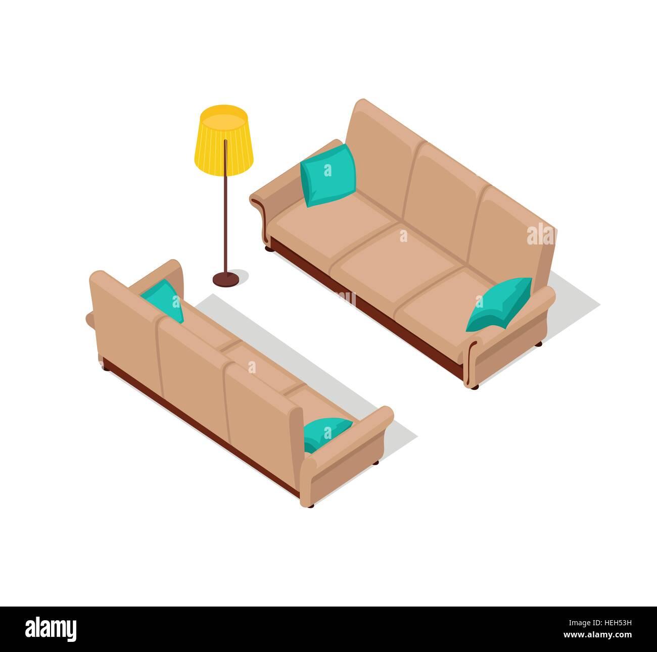 Sofa und Lampe isometrische Design. Isometrische, innen Sofa Möbel ...