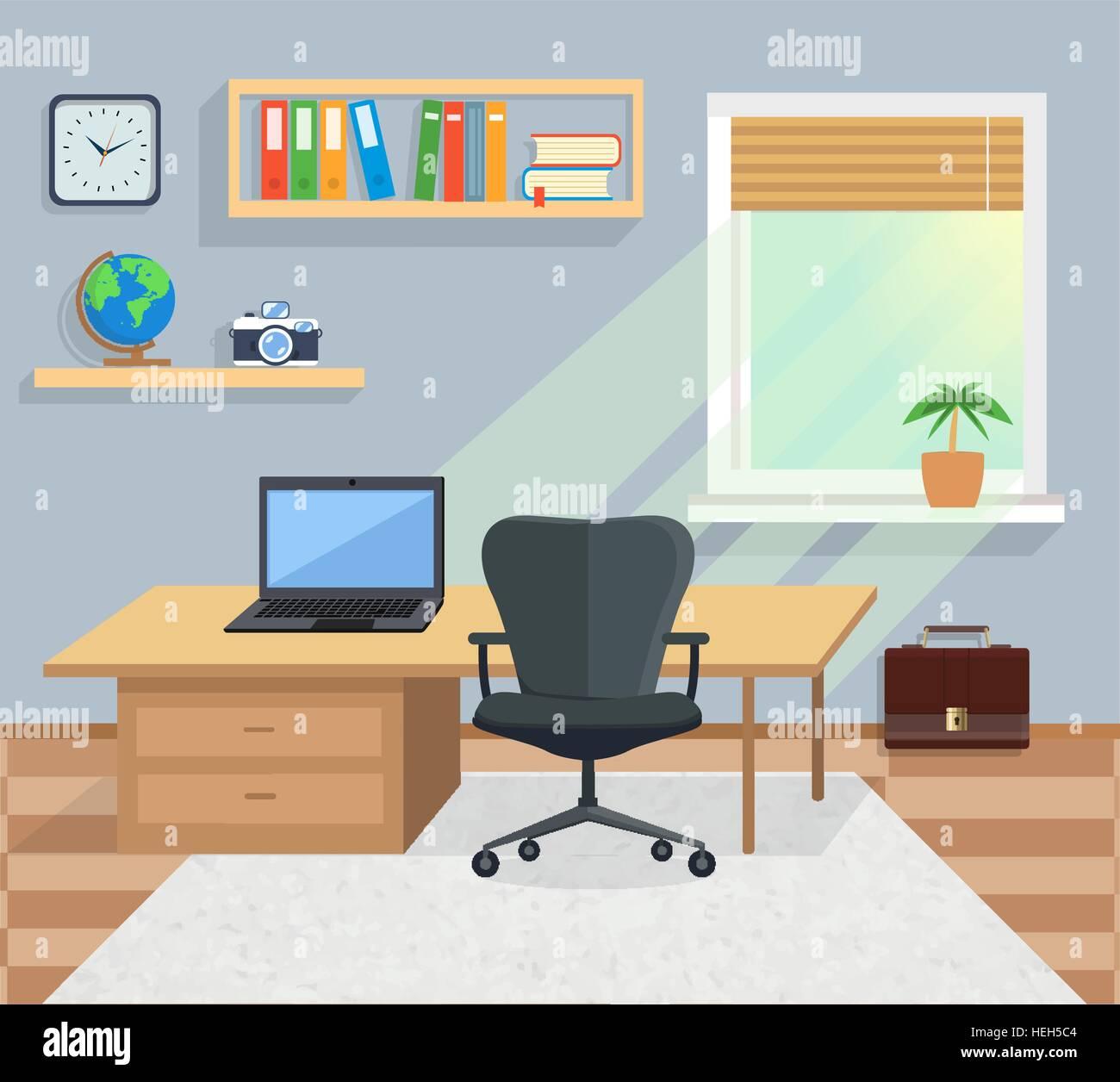 Inneren Burozimmer Illustration Fur Design Moderne Buroeinrichtung