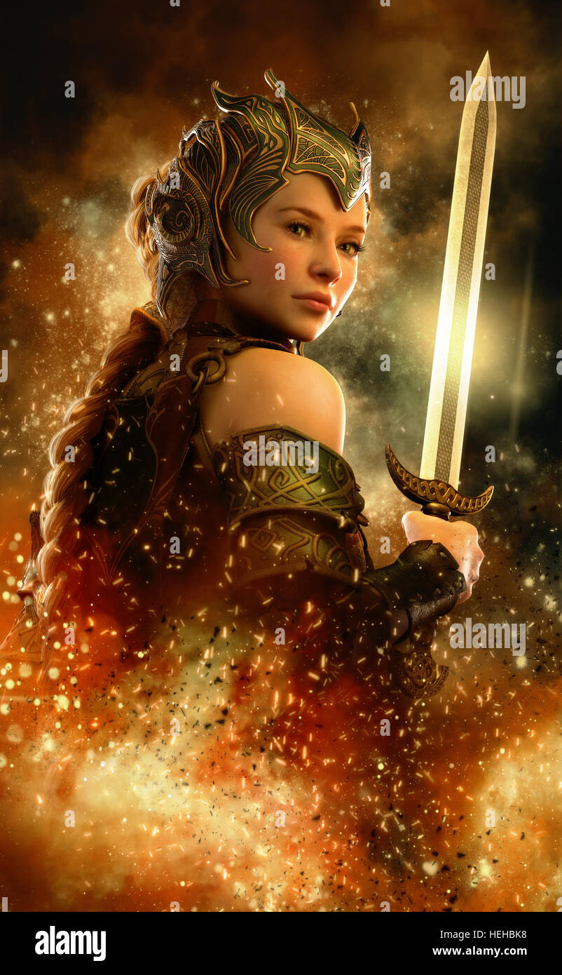 3D Computergrafik von einer Kriegerin mit Fantasie Kleid und Schwert Stockbild