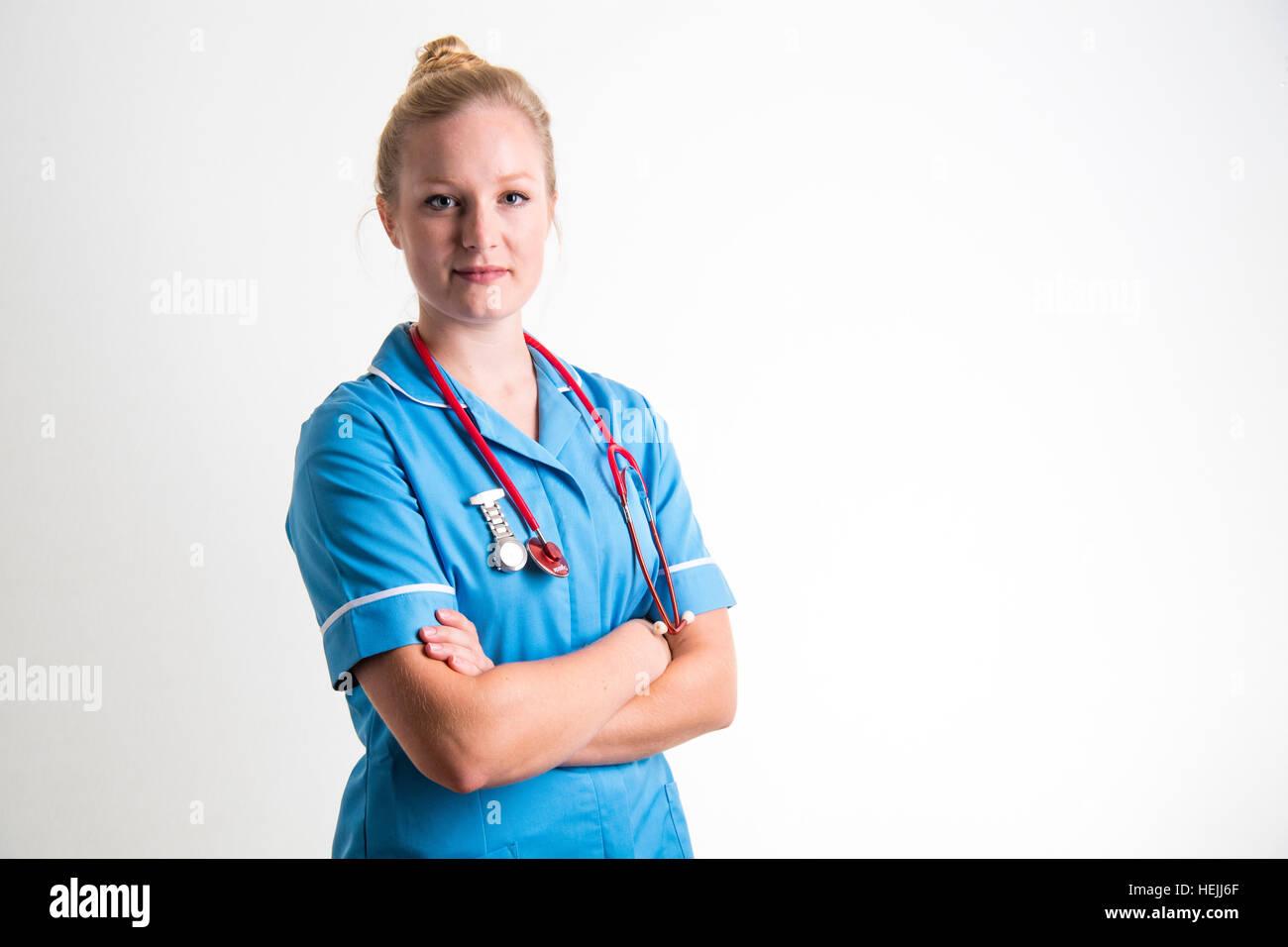 UK Health Care Professionals: A National Health Service (NHS) Frau Krankenschwester Stockbild
