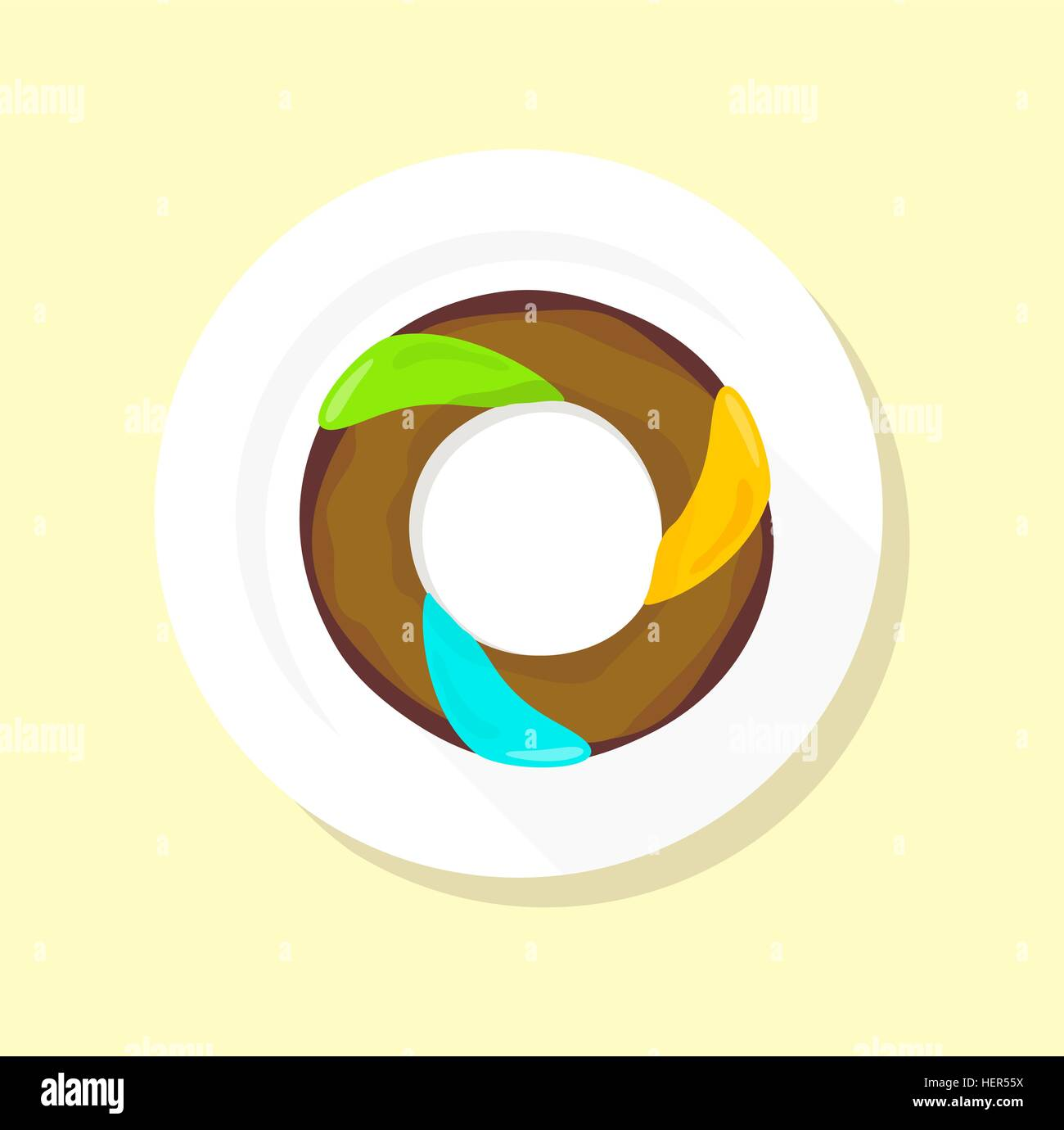 Donut-Logo. Süße Krapfen entwerfen flache Essen. Donut, Donuts ...