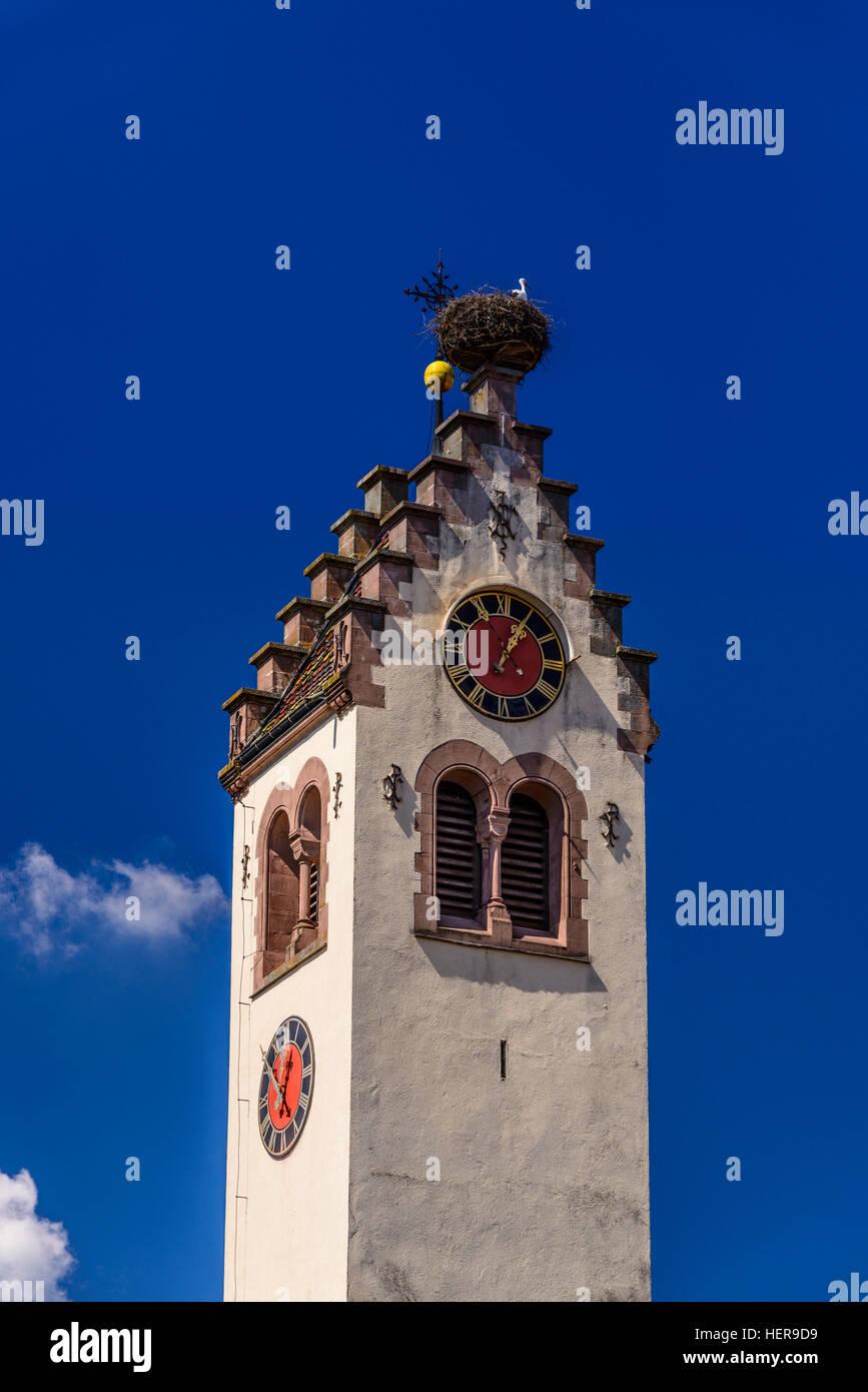Deutschland, Baden-Württemberg, Obere Donau, Baar, Donaueschingen, Stadtteil Pfohren, Kirche Mit Silberdistel Stockbild