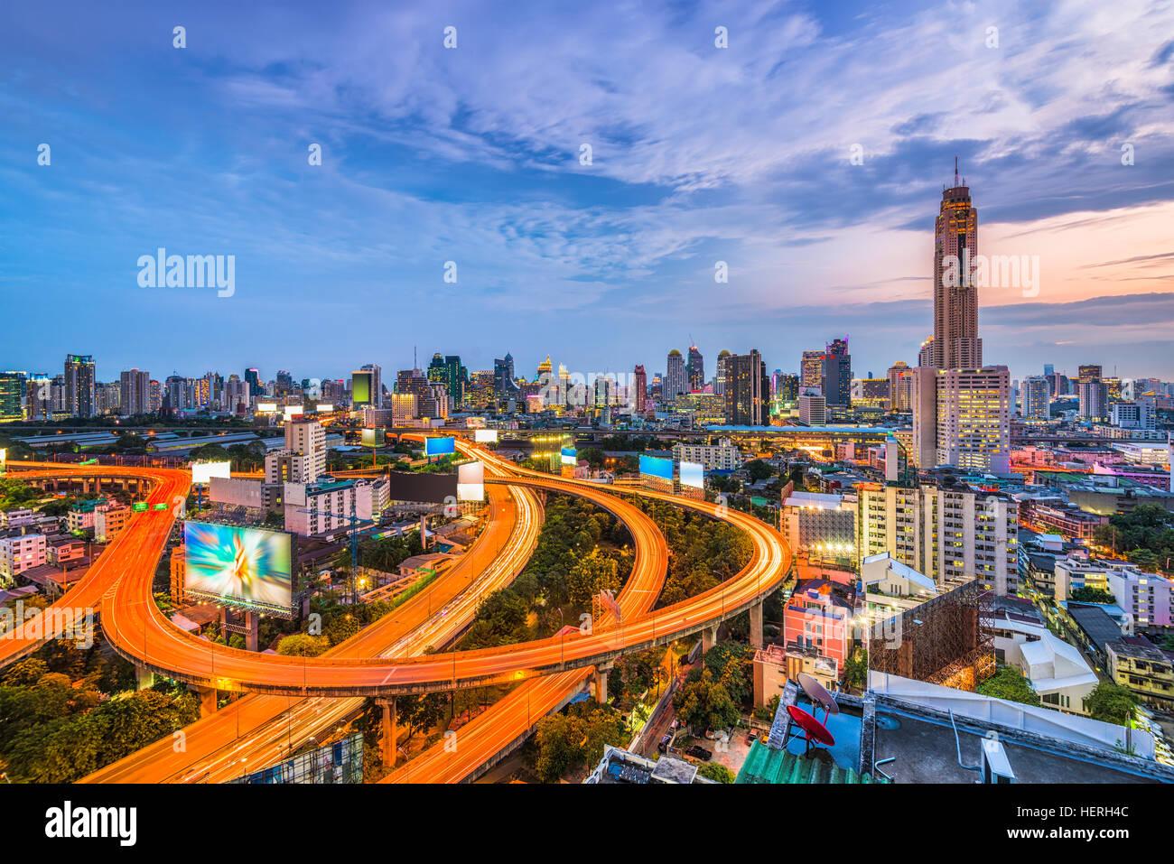 Skyline von Bangkok, Thailand vom Bezirk Ratchathewi. Stockbild