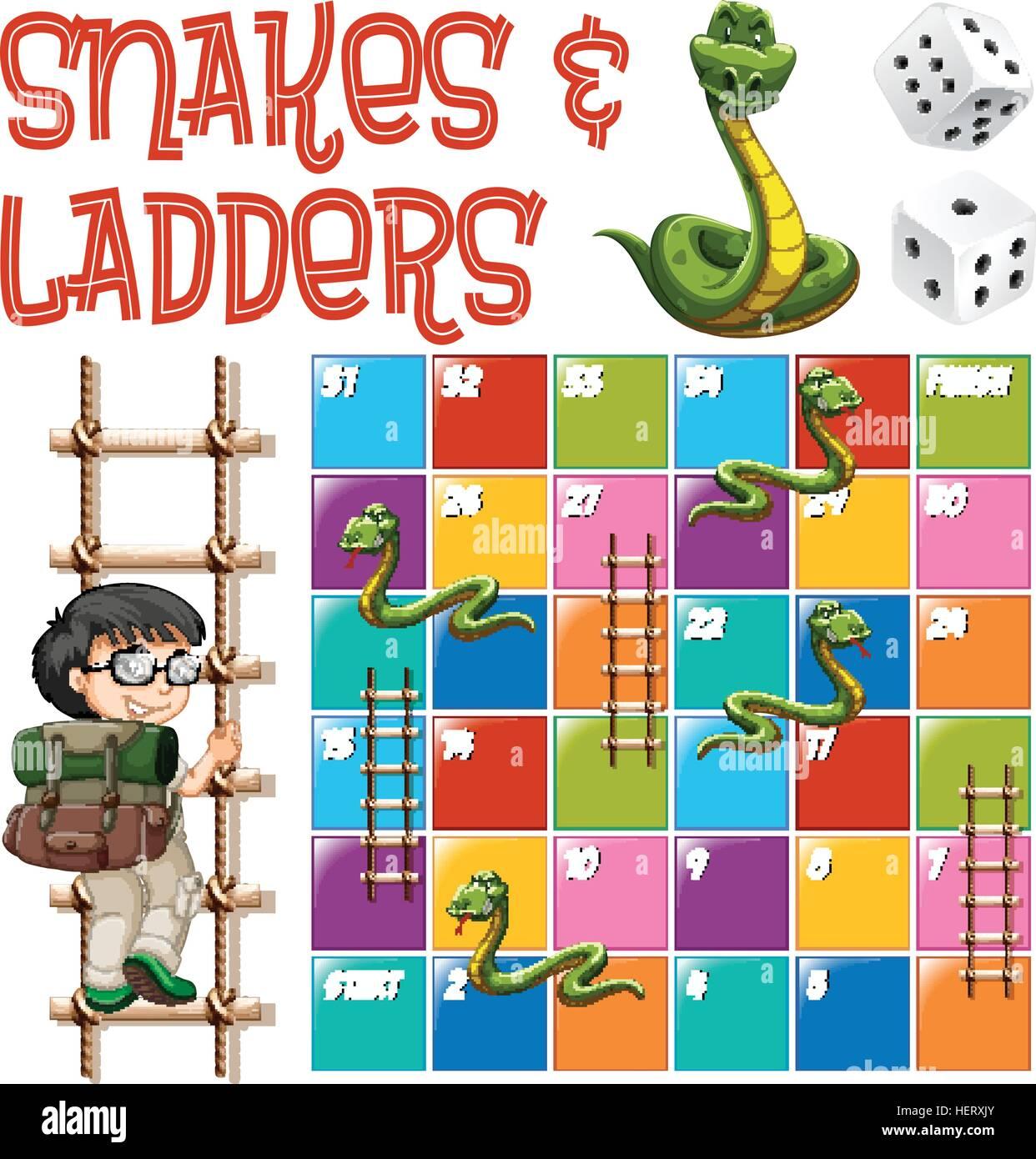 Brettspiel Vorlage Mit Leitern Und Schlangen Illustration Vektor