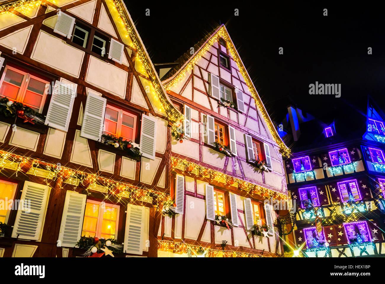 Wunderbare Weihnachten Hervorhebung in Colmar, Elsass, Frankreich ...