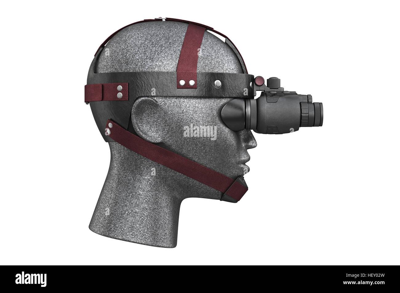 Militärischen kampf nachtsichtgeräte seitenansicht. 3d rendering