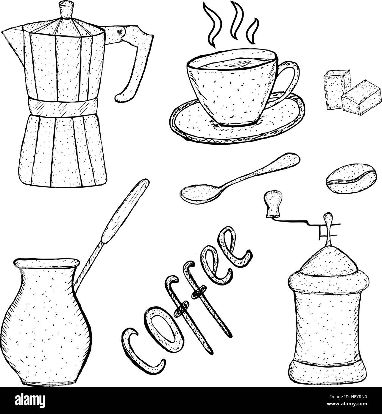 Sammlung Von Kaffee Skizzierwerkzeug Hand Zeichnen Vintage Stil Vektor Illustration Stock Vektorgrafik Alamy