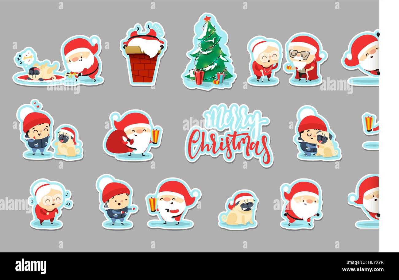 Aufkleber Lustig Weihnachten Santa Claus Zeichen In Flachen Stil
