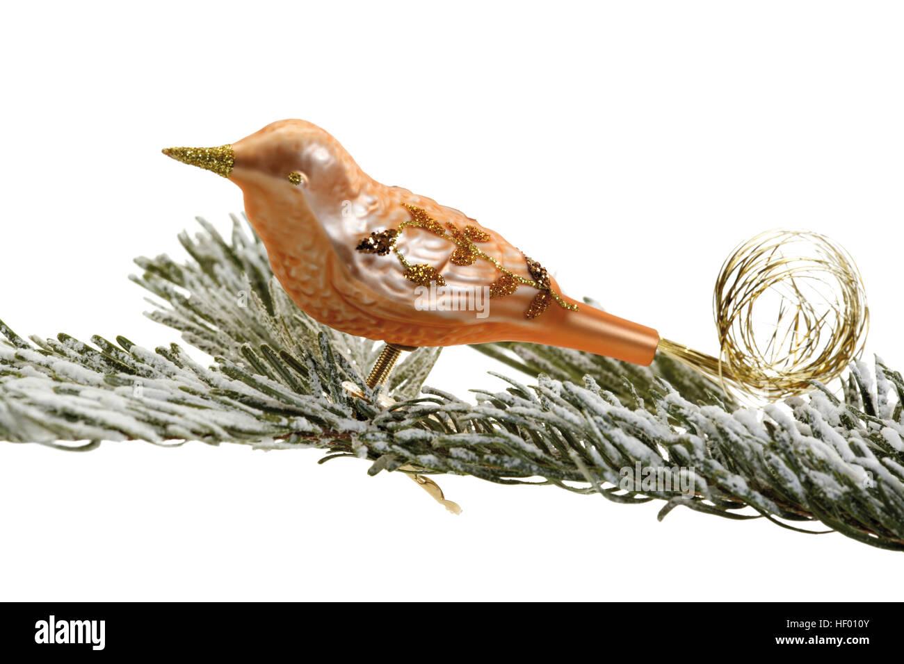 Kupfer Christbaumschmuck Vogel Auf Tief Verschneiten Tannen Ast