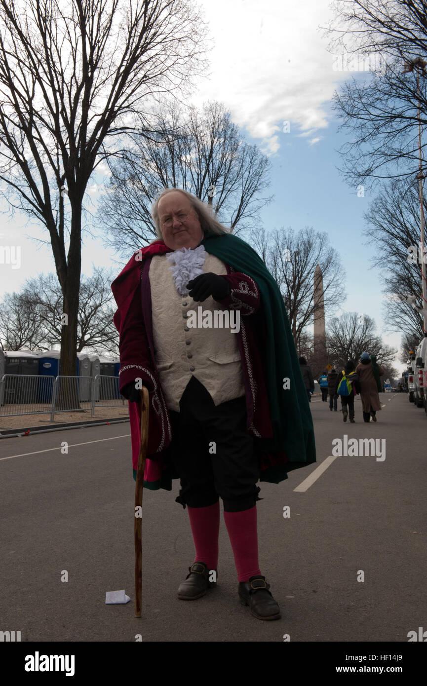 """Mickey Scroggins sagt """"Überall dort, wo Benjamin Franklin notwendig ist,"""" der selbstständige historischen Dolmetscher Stockfoto"""