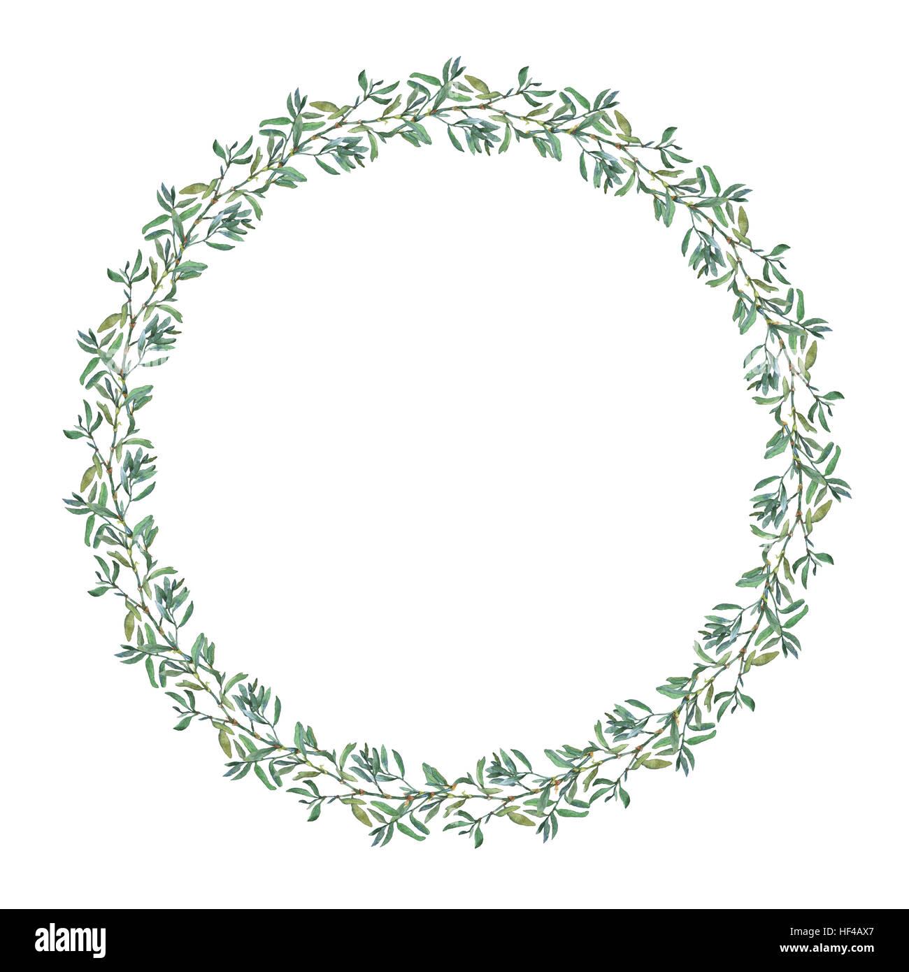 Kranz Kreis Rahmen mit Sommer Kräuter, Wiesenblumen. Aquarell Hand ...