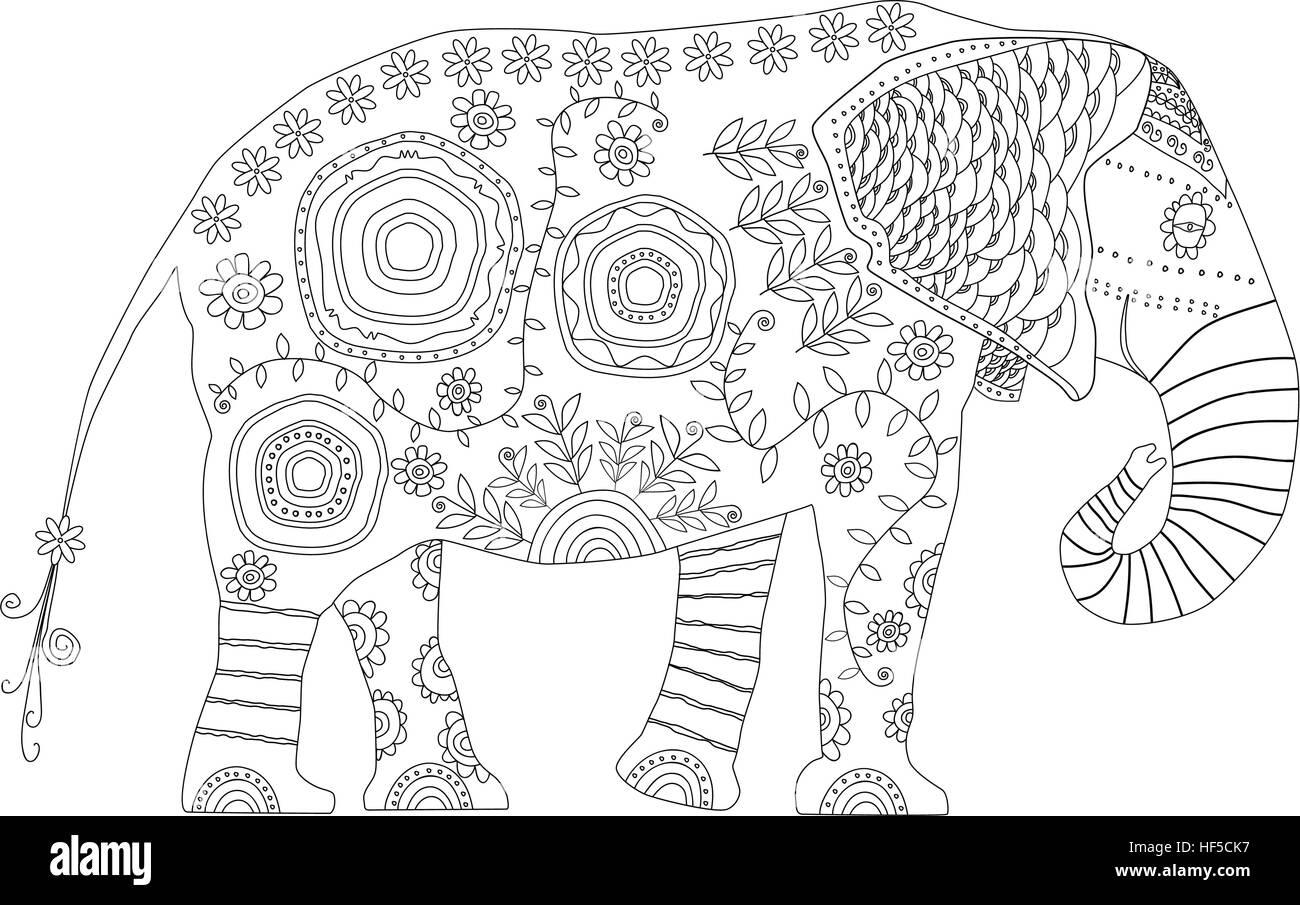 Dekorative Elefant. Erwachsenen antistress Malvorlagen. Schwarz