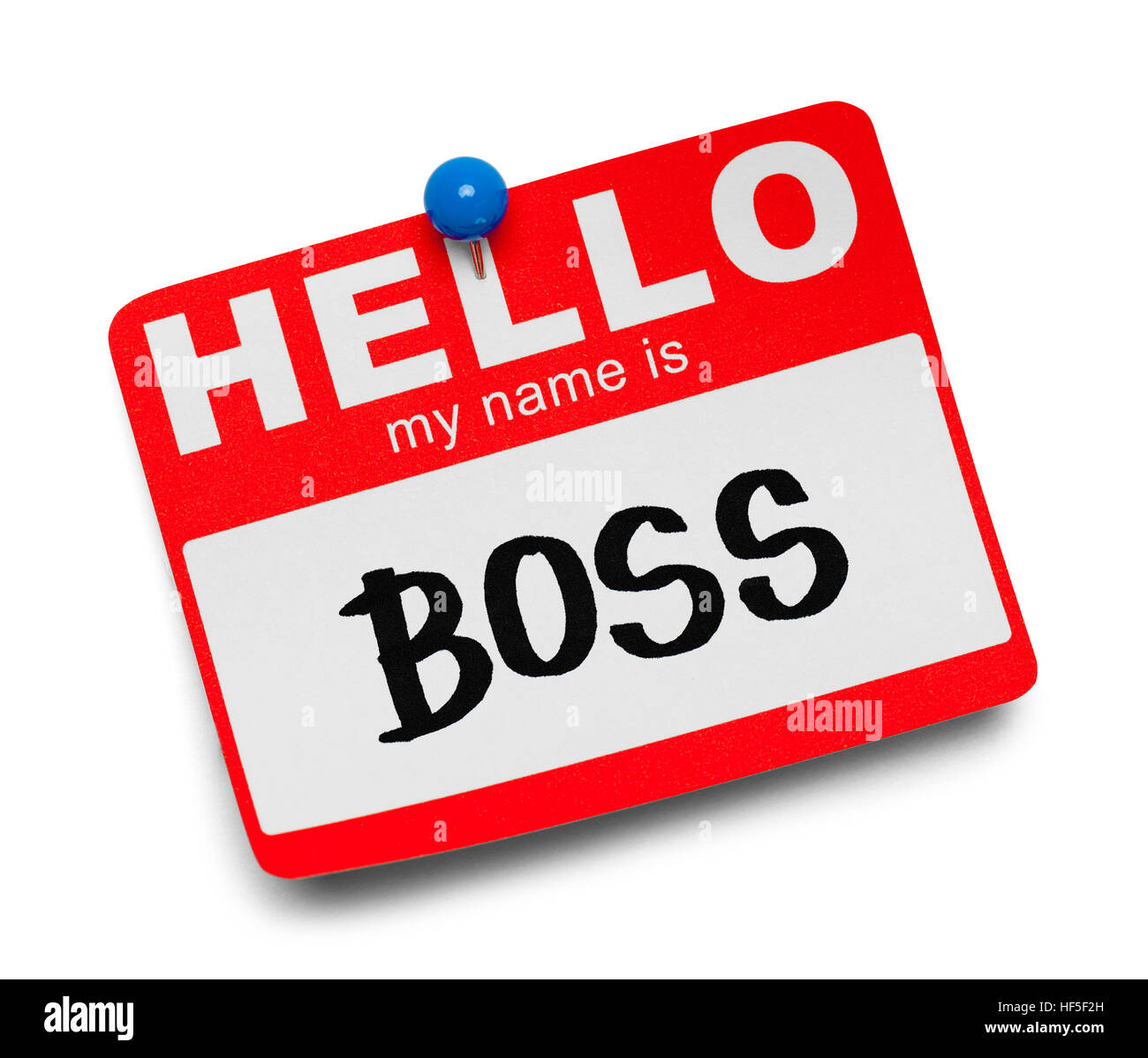 Hallo, mein Name ist Boss Tag, Isolated on White Background. Stockbild
