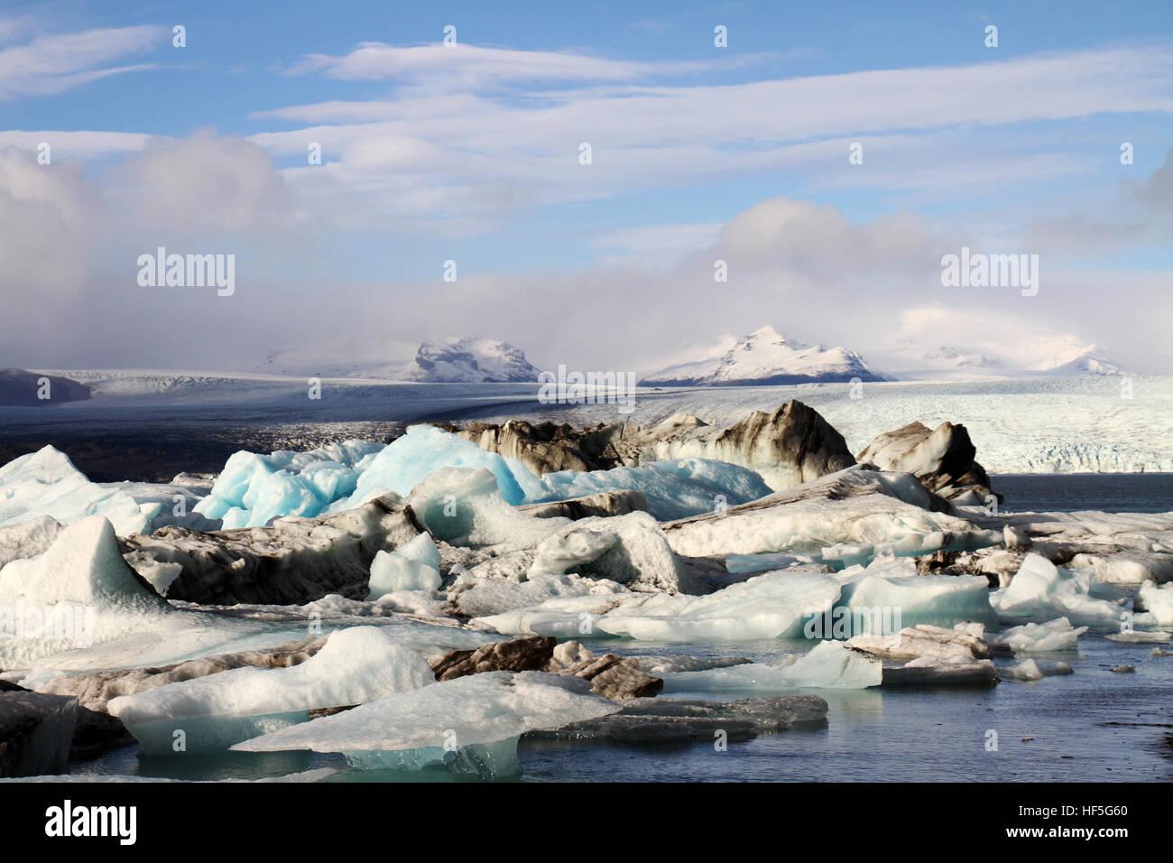 Eis-Bergs Eiskappe Eisberg Gletscher Islands Stockbild